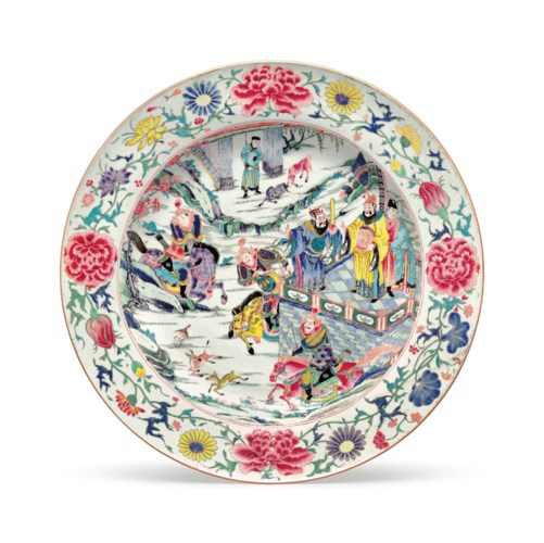 A VERY LARGE FAMILLE ROSE DISH