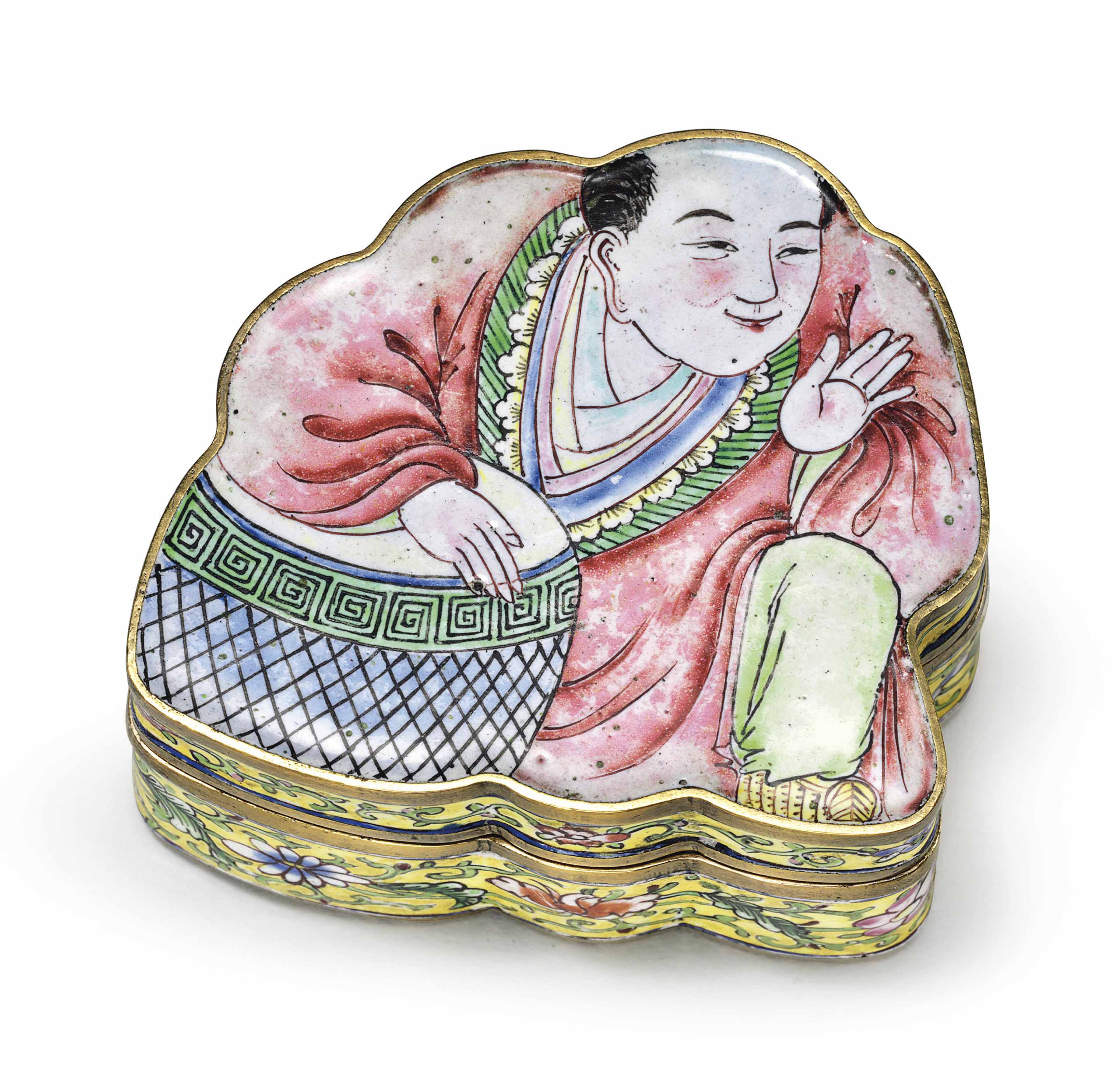 A RARE PAINTED ENAMEL BUDDHA SNUFF BOX AND COVER