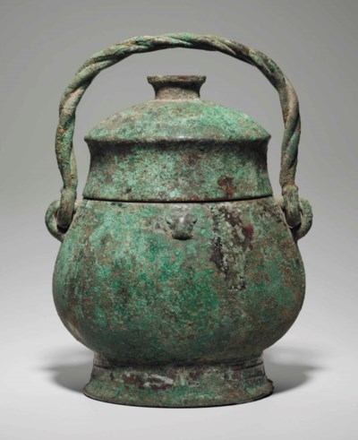 A LARGE BRONZE RITUAL WINE VES