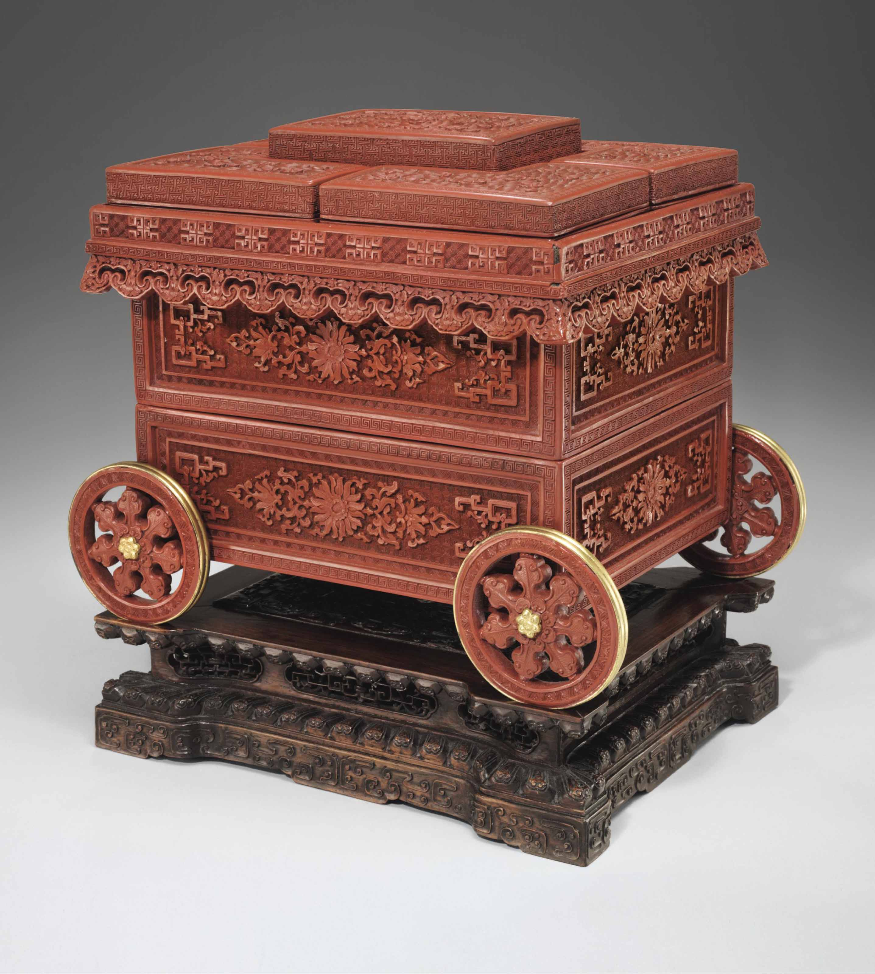 A VERY RARE IMPERIAL CARVED RED LACQUER CART-FORM COLLECTOR'...