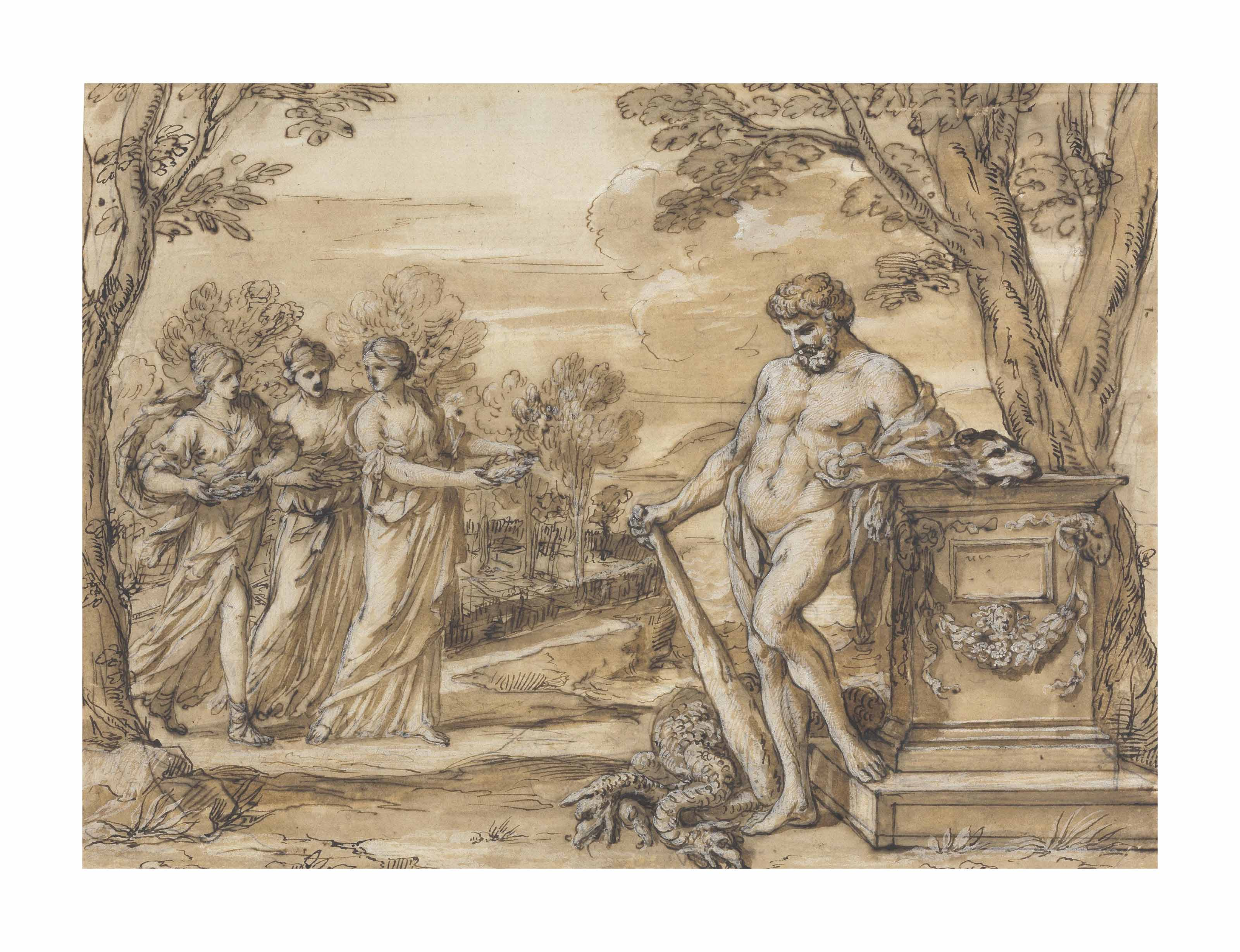 Hercules in the garden of the Hesperides
