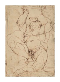 Silenus drinking from a great vase held above his head