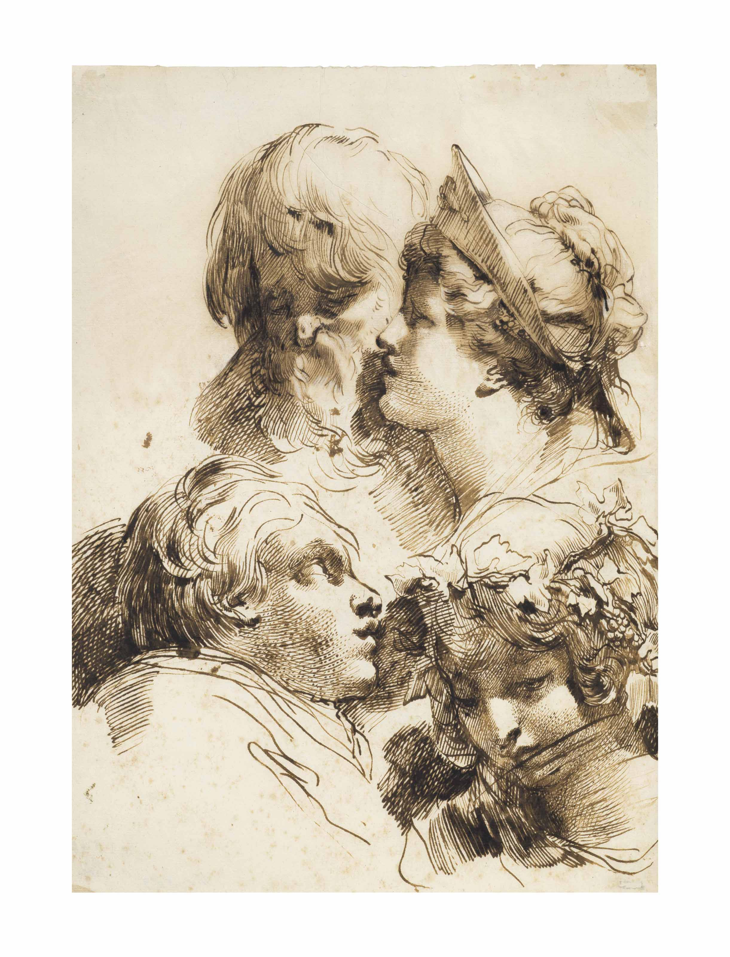Four heads: two women, a boy and a bearded man