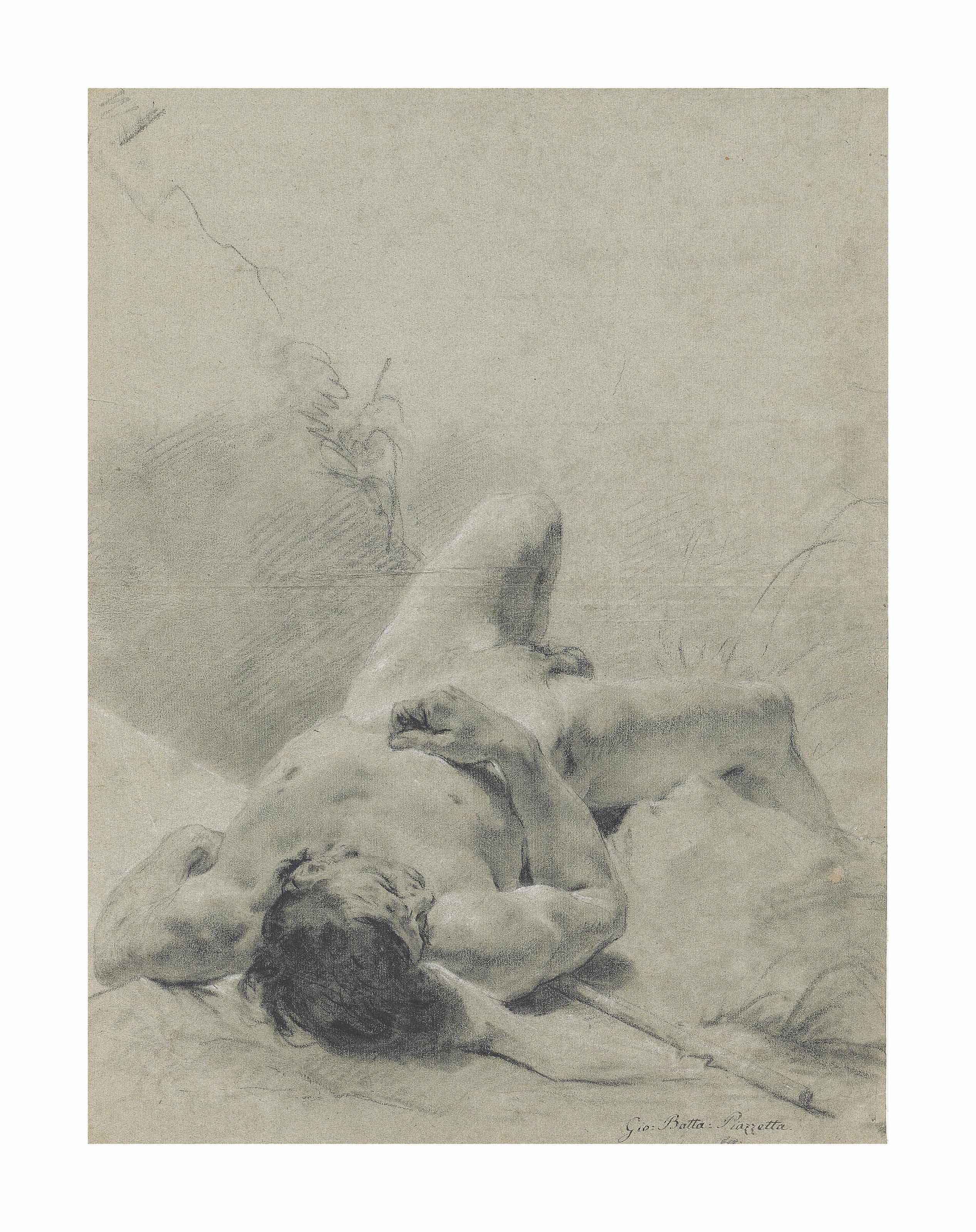 A nude youth sprawled on his back, upon a bank, lying on a standard