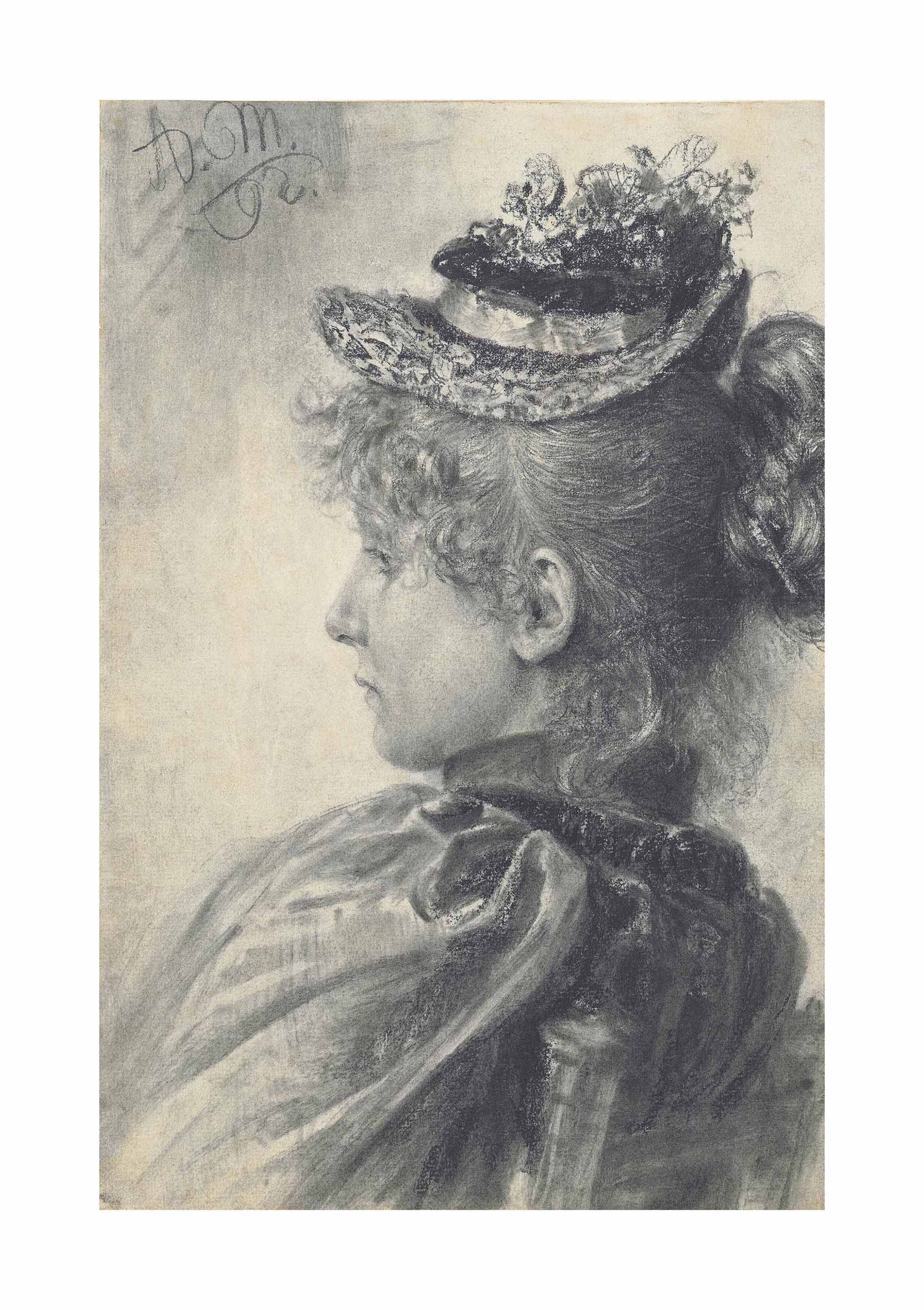 A young woman seated, in profile, bust length, wearing a hat
