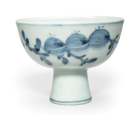 A blue and white porcelain stem cup