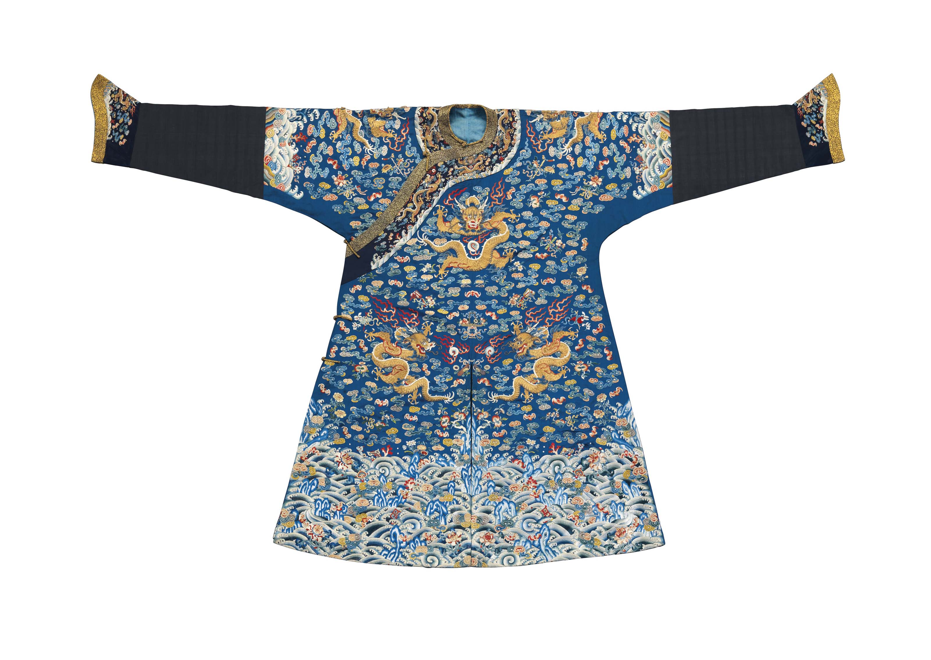 A FINELY EMBROIDERED BLUE SILK