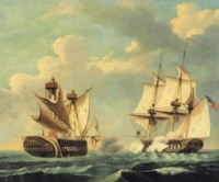 The H.M.S. Macedonian surrendering to the U.S.S. United States commanded by Captain Stephen Decatur