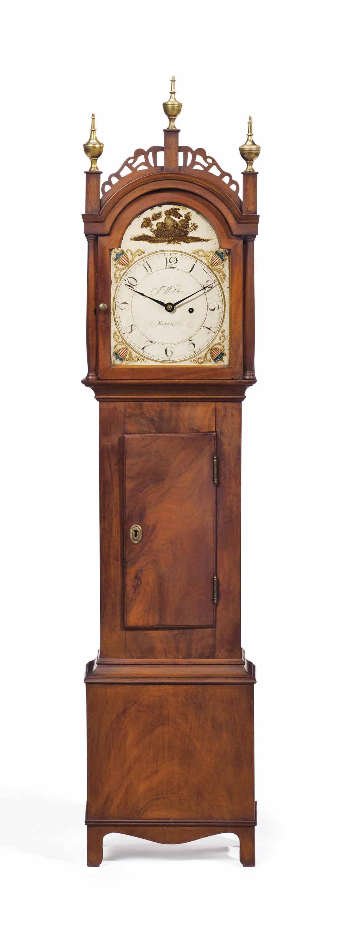 A FEDERAL MAHOGANY TIMEPIECE DWARF CLOCK