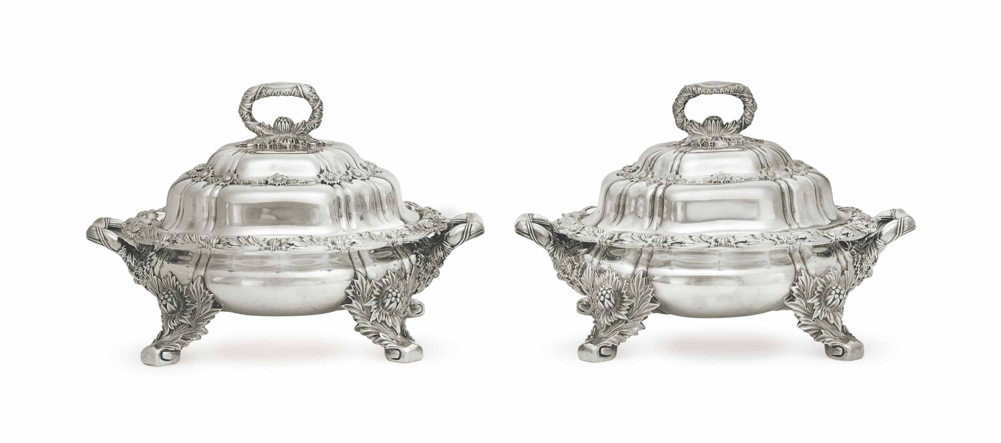A PAIR OF SILVER VEGETABLE DIS