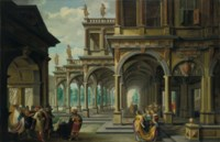 An architectural capriccio with Jephthah and his daughter