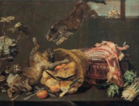 Cats fighting in a larder, with loaves of bread, a dressed lamb, artichokes and grapes