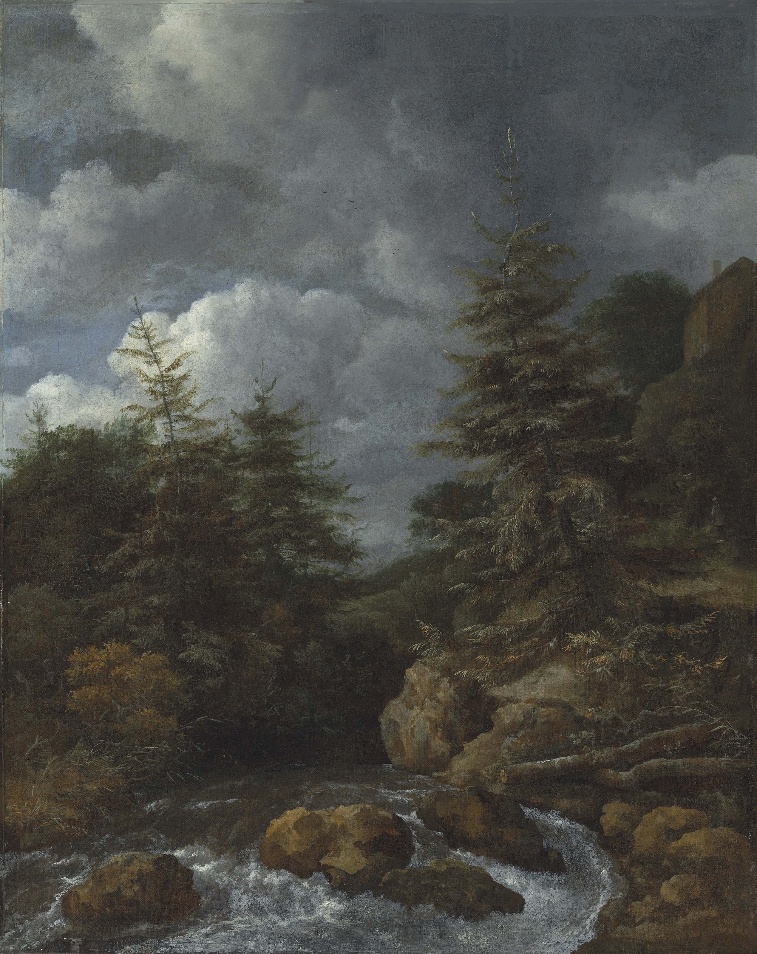 A river landscape with fir trees by a cascade