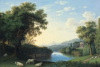 A capriccio river landscape of the Giardino Inglese at Caserta, with cattle and reclining figures