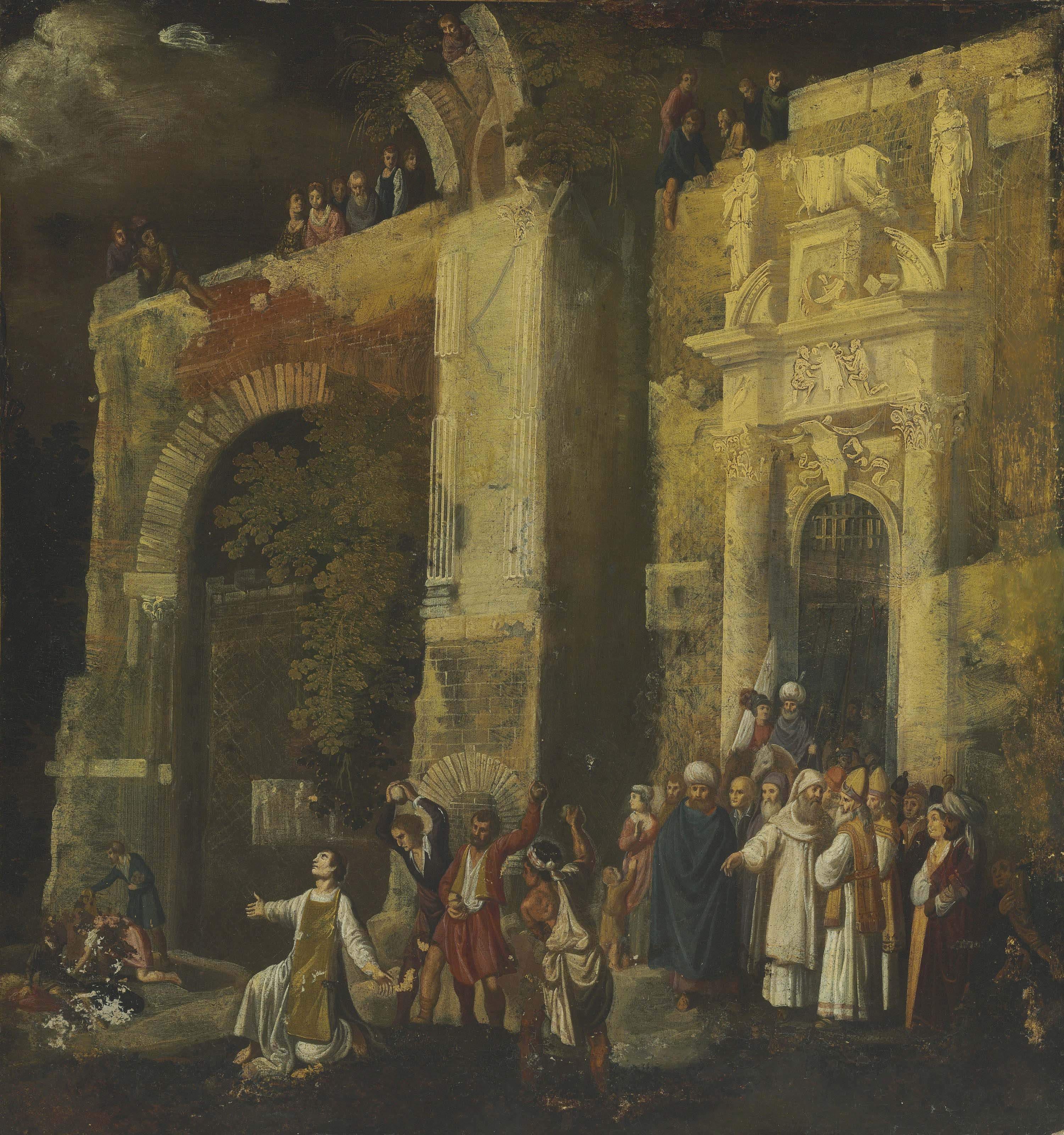 The Stoning of Saint Stephen, a Classical architectural capriccio beyond