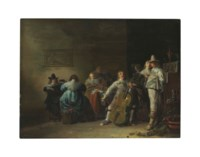 An interior with elegant company making music