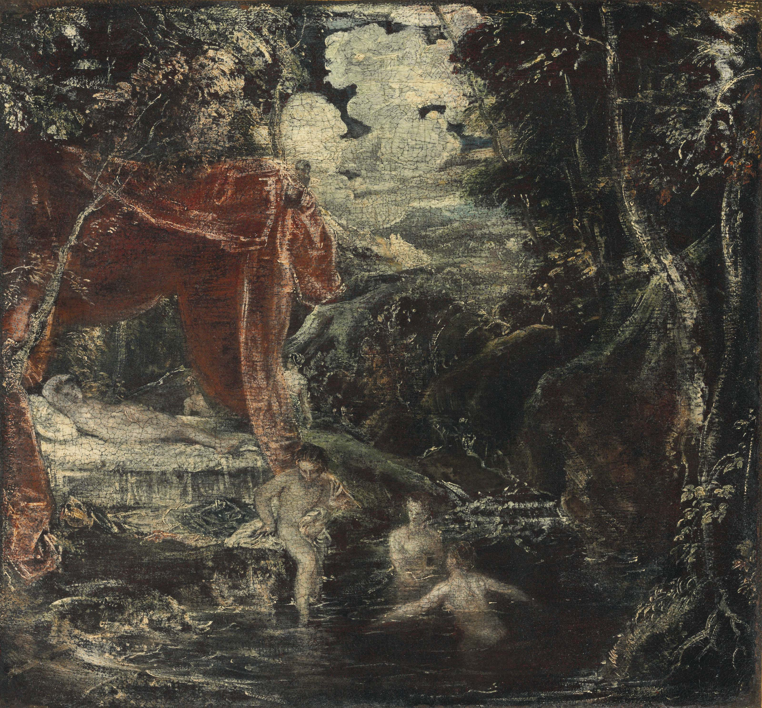 A wooded landscape with Diana and her nymphs bathing in a rocky pool