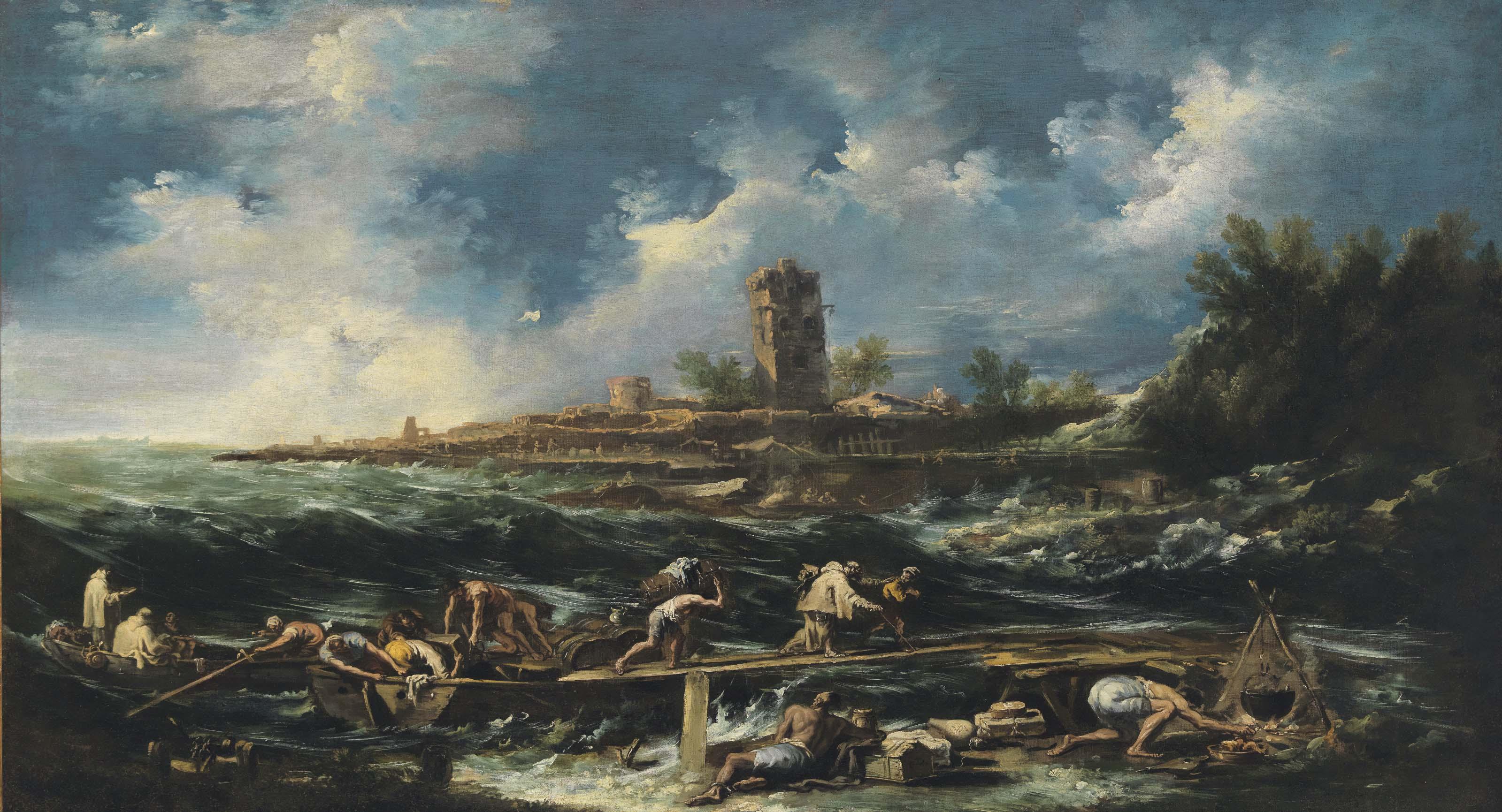 Castaways landing on the beach after a storm