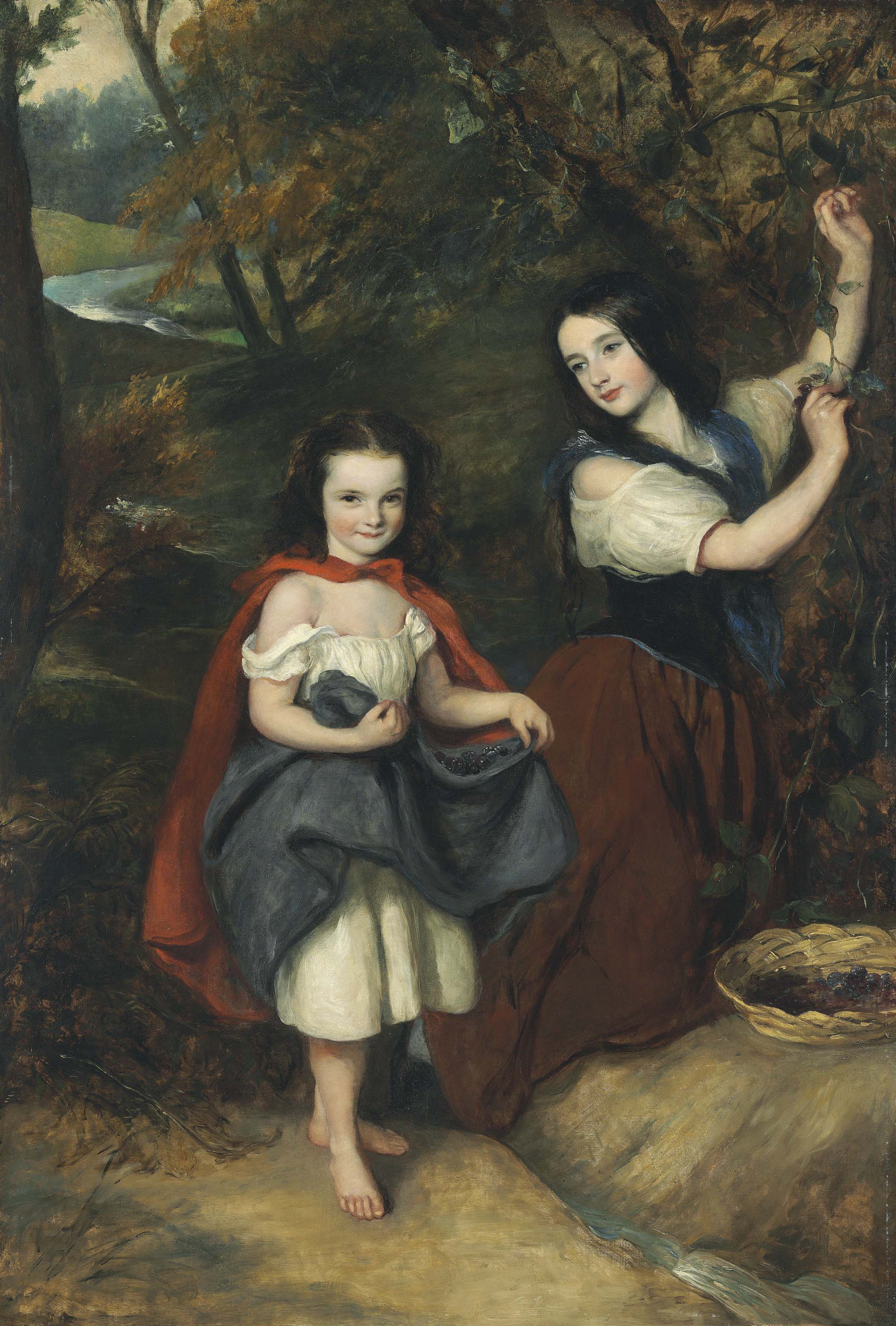 Two girls picking berries in an extensive landscape