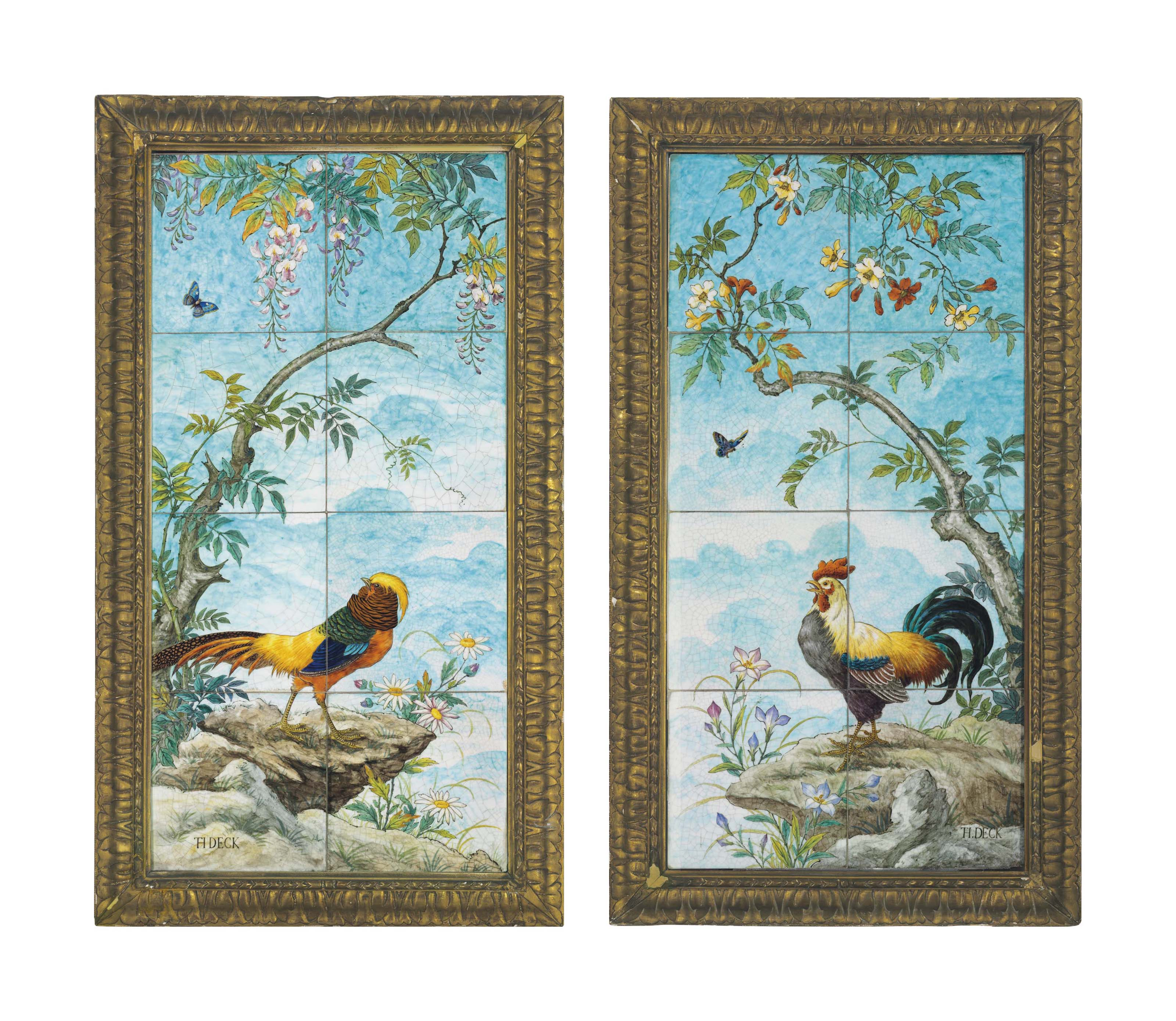 A VERY LARGE PAIR OF THEODORE DECK FAIENCE EIGHT-TILE WALL PANELS
