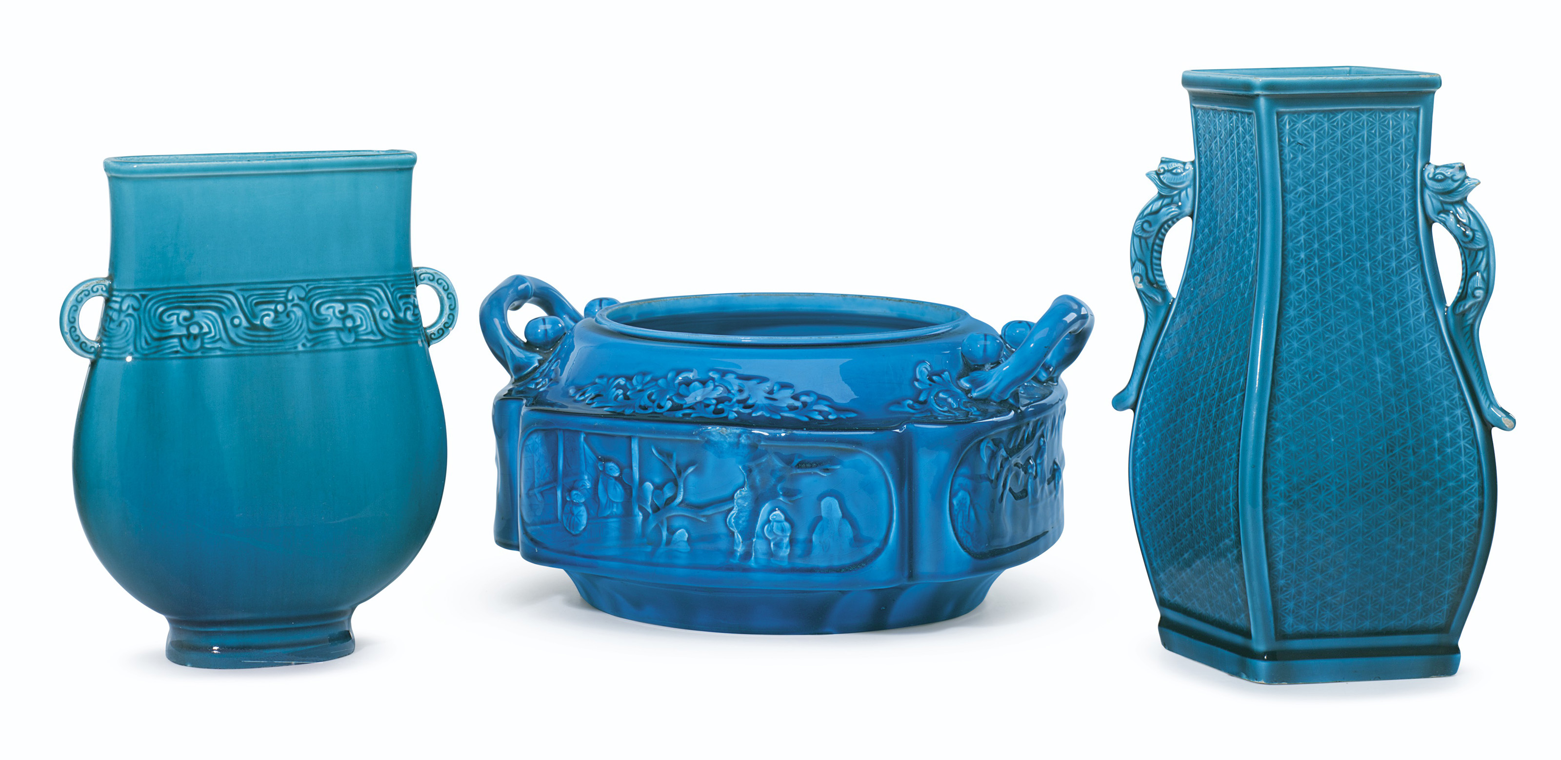 TWO THEODORE DECK FAIENCE 'PERSIAN BLUE' VASES