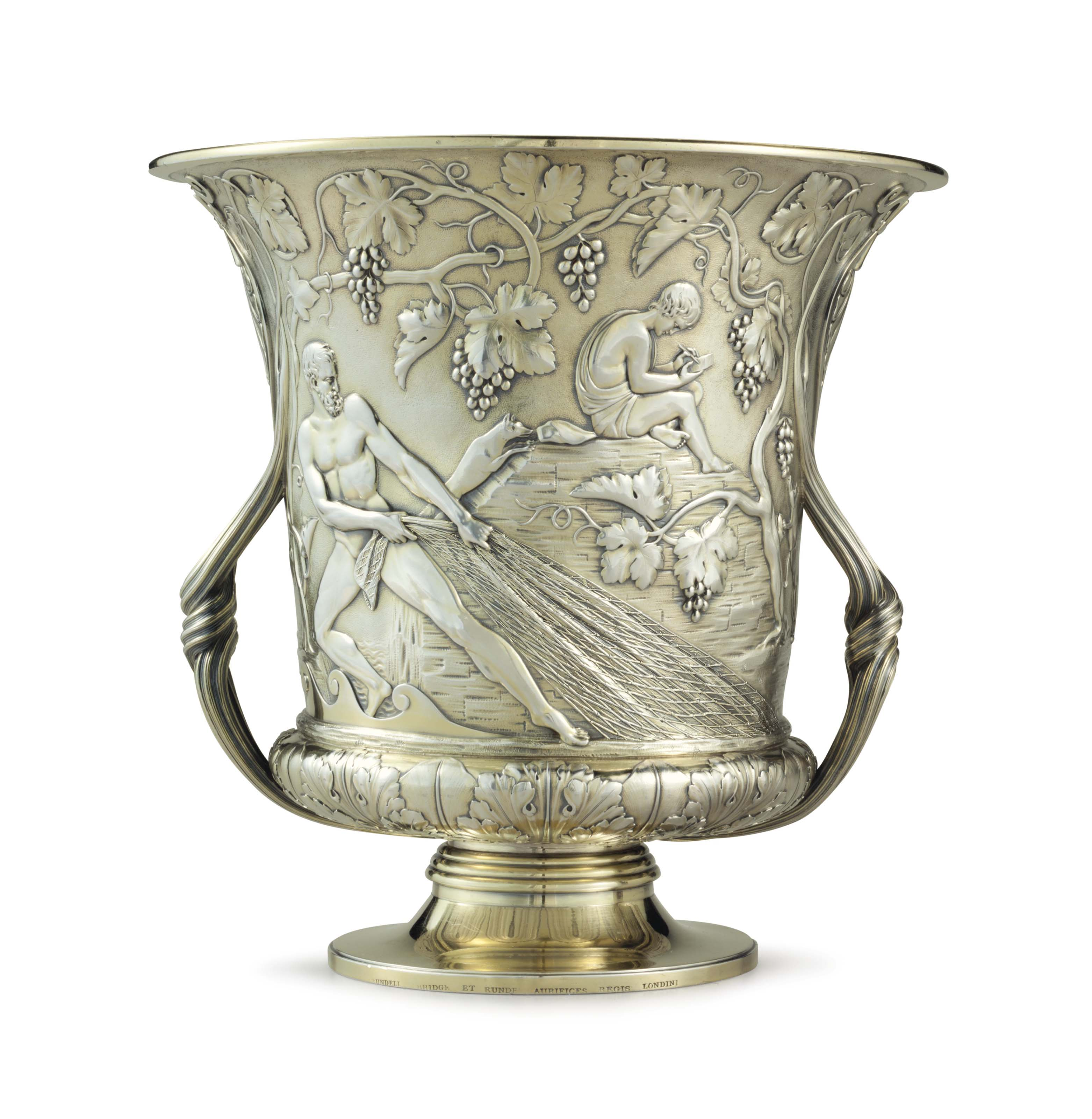 A GEORGE IV SILVER-GILT WINE COOLER