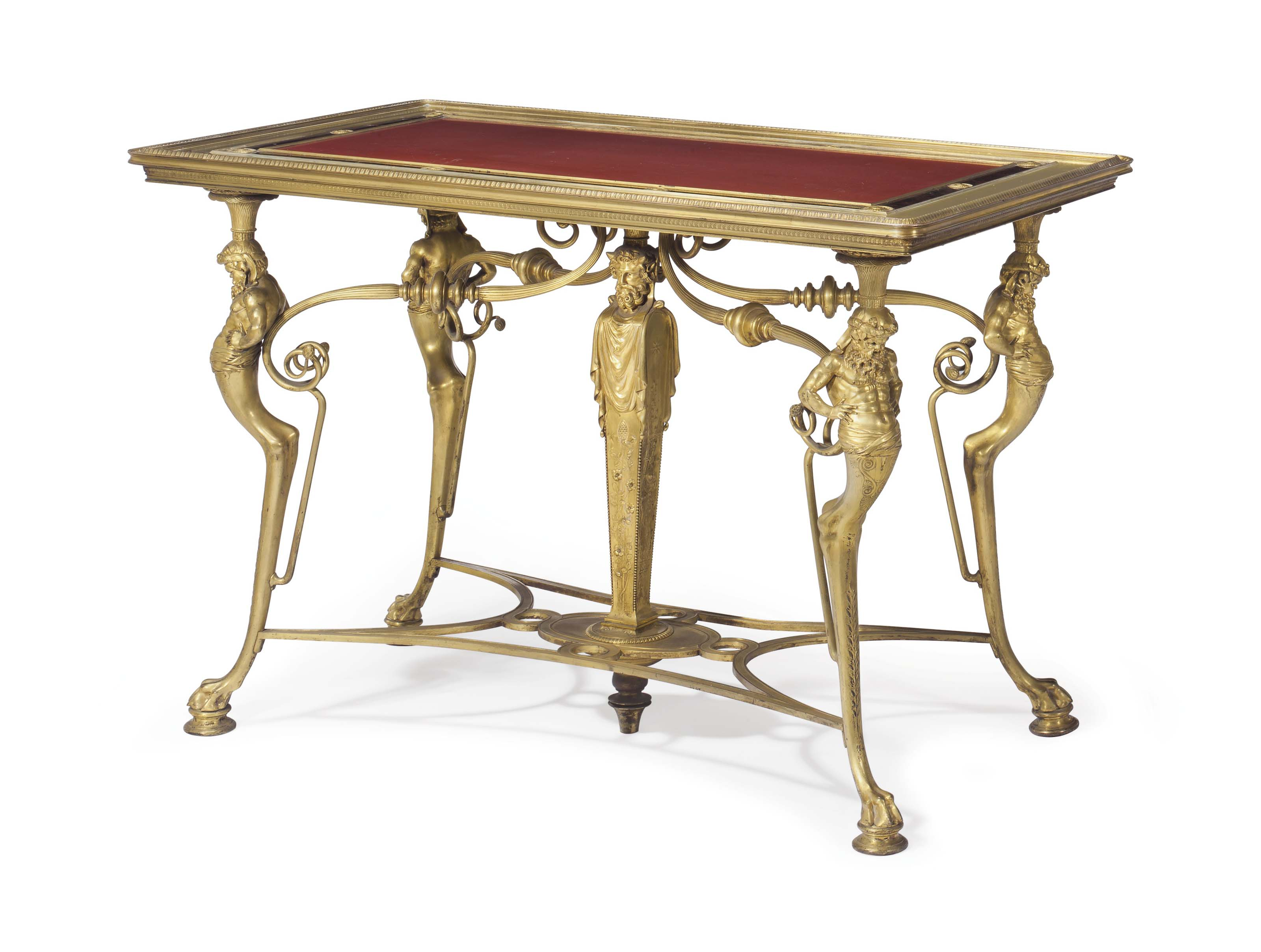A FRENCH ORMOLU, JASPER AND ROUGE MARBLE CENTER-TABLE