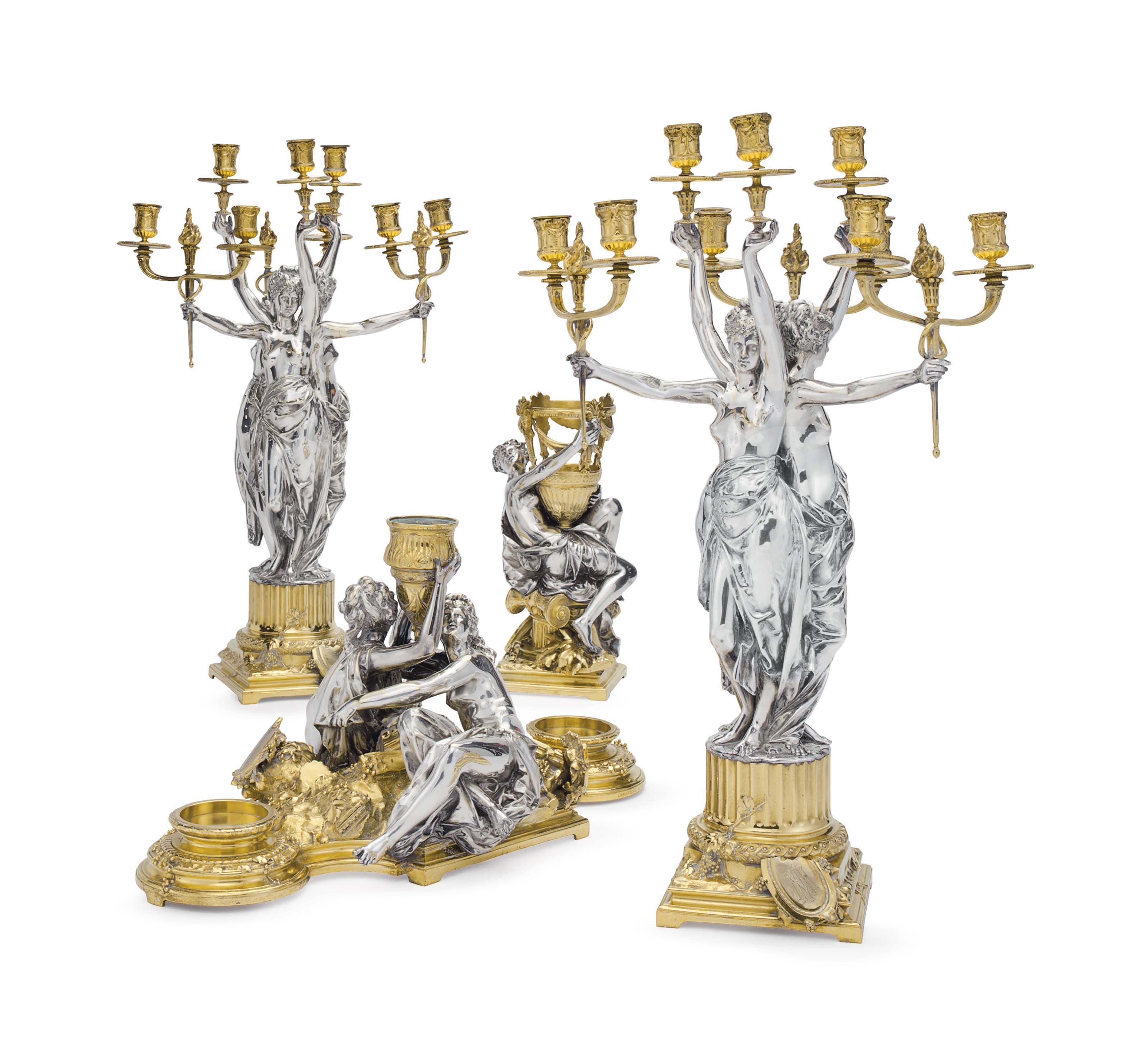 A FINE FRENCH ORMOLU AND ELECTROPLATED FOUR-PIECE GARNITURE