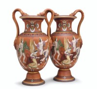 A PAIR OF SAMUEL ALCOCK REDWARE GREEK REVIVAL SNAKE-HANDLED VASES