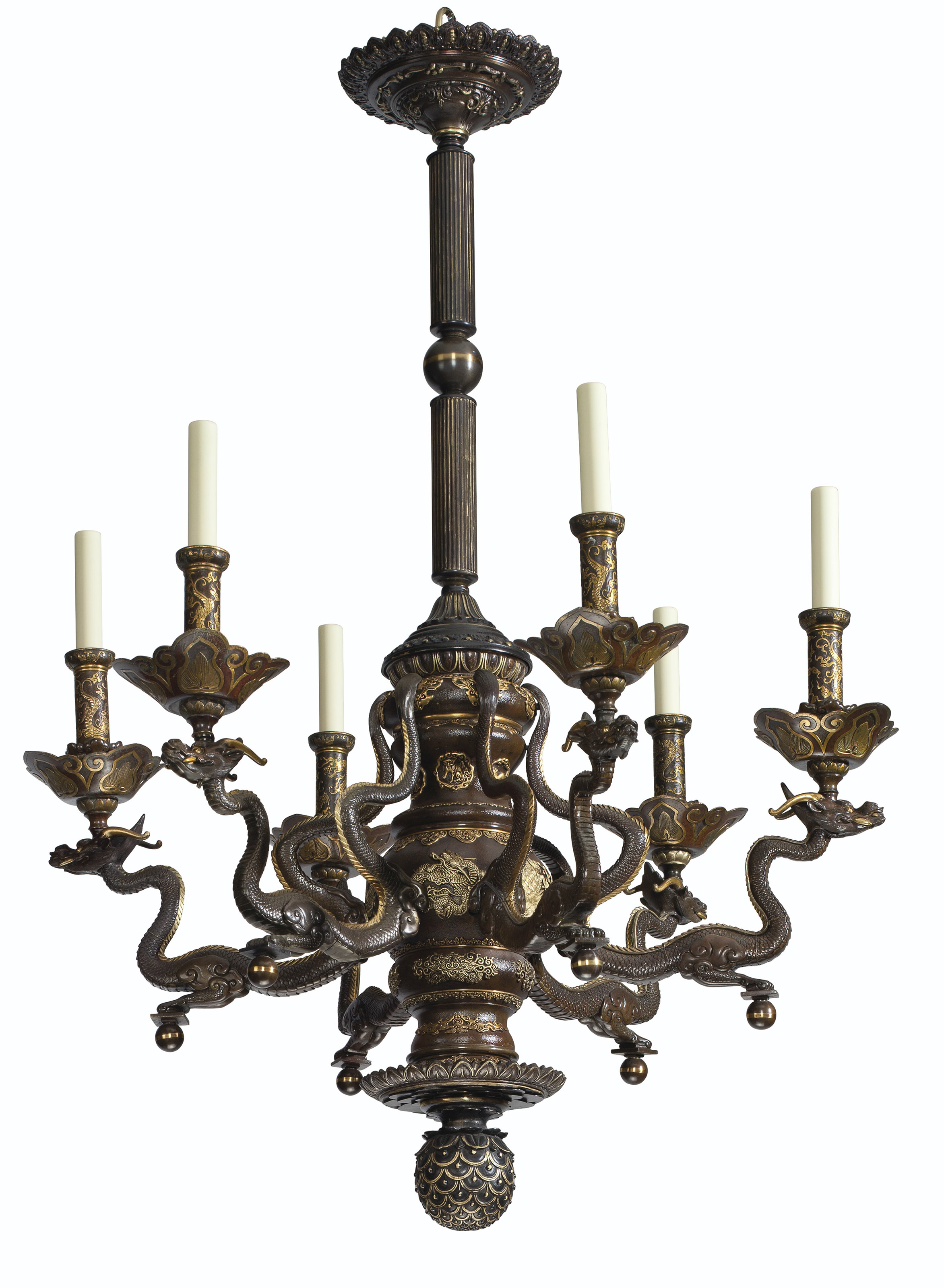A PAIR OF PATINATED AND PARCEL-GILT-BRONZE SIX-LIGHT CHANDELIERS
