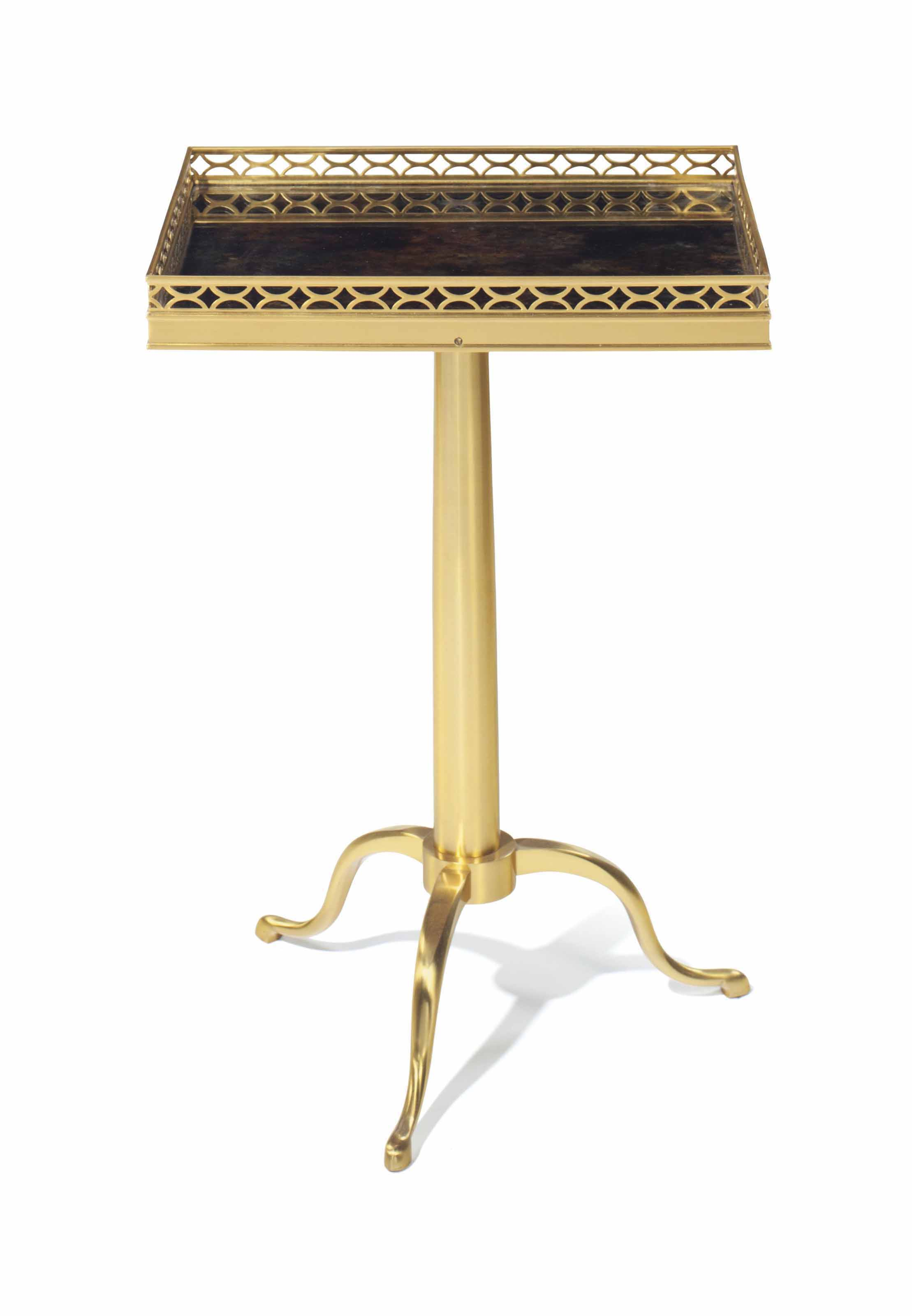 A BRASS TELESCOPING TABLE