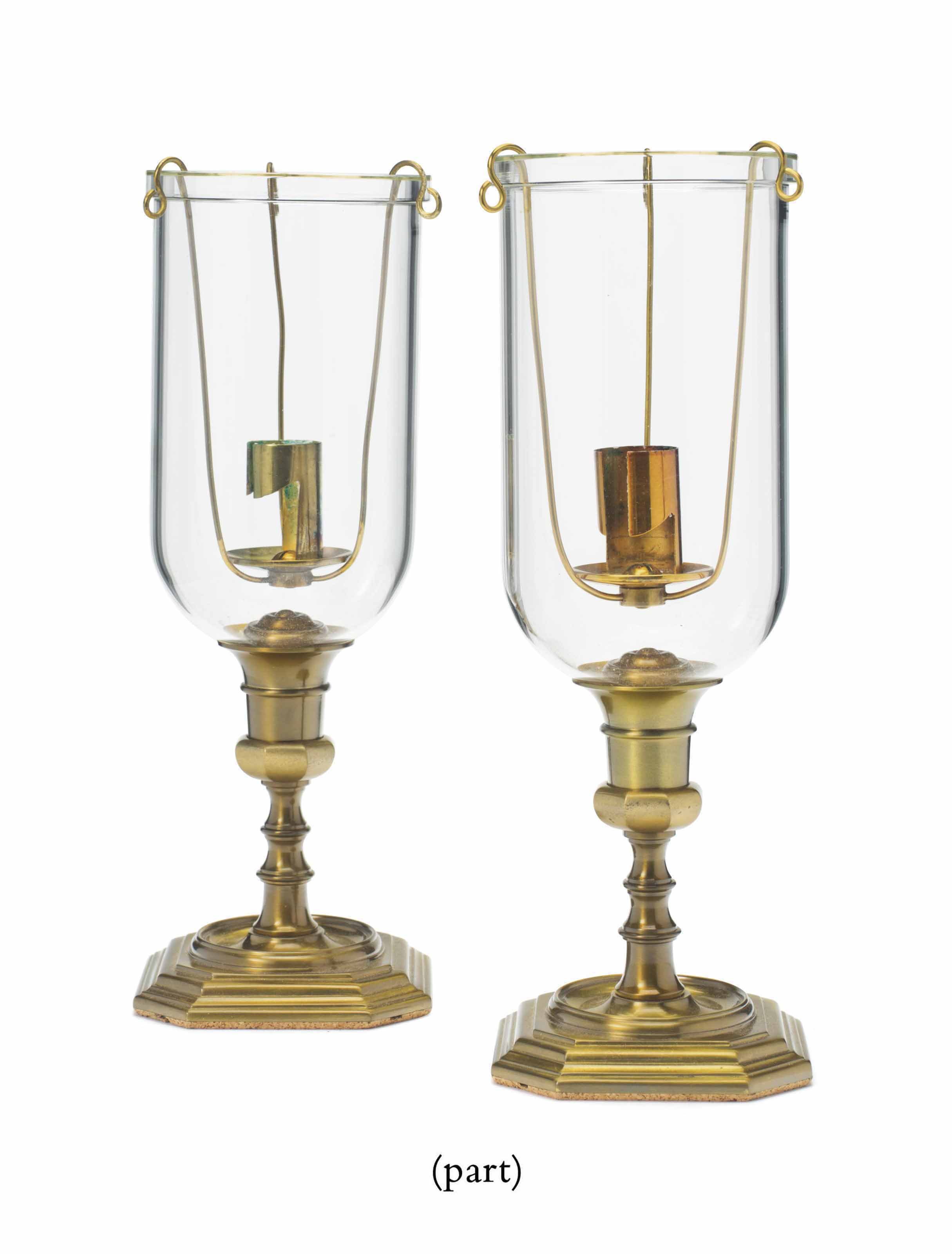 A SET OF EIGHT CONTINENTAL BRASS AND GLASS PHOTOPHORES