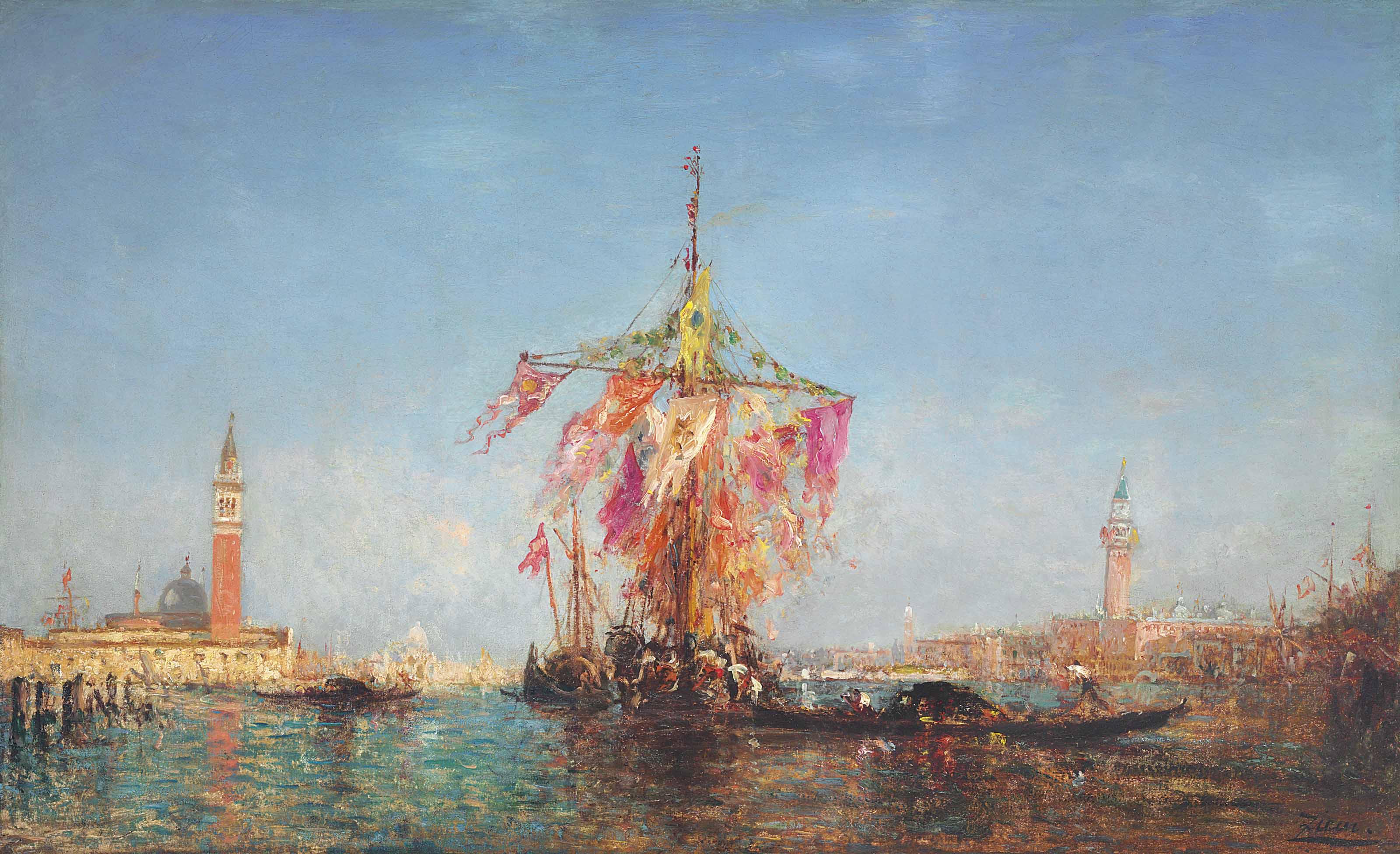 Bateau pavoisé sur le bassin, Venise