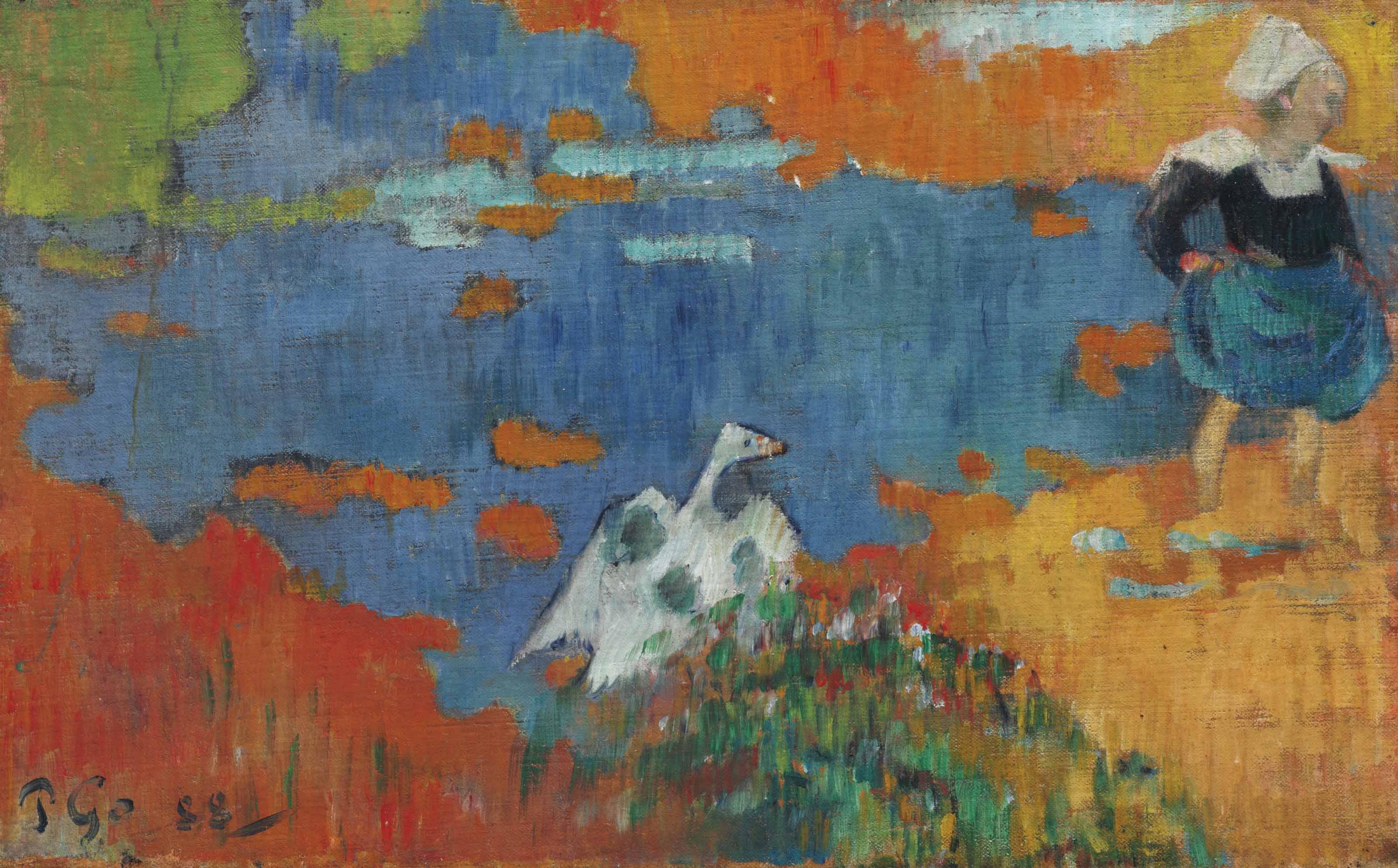 Bretonne et oie au bord de l'eau