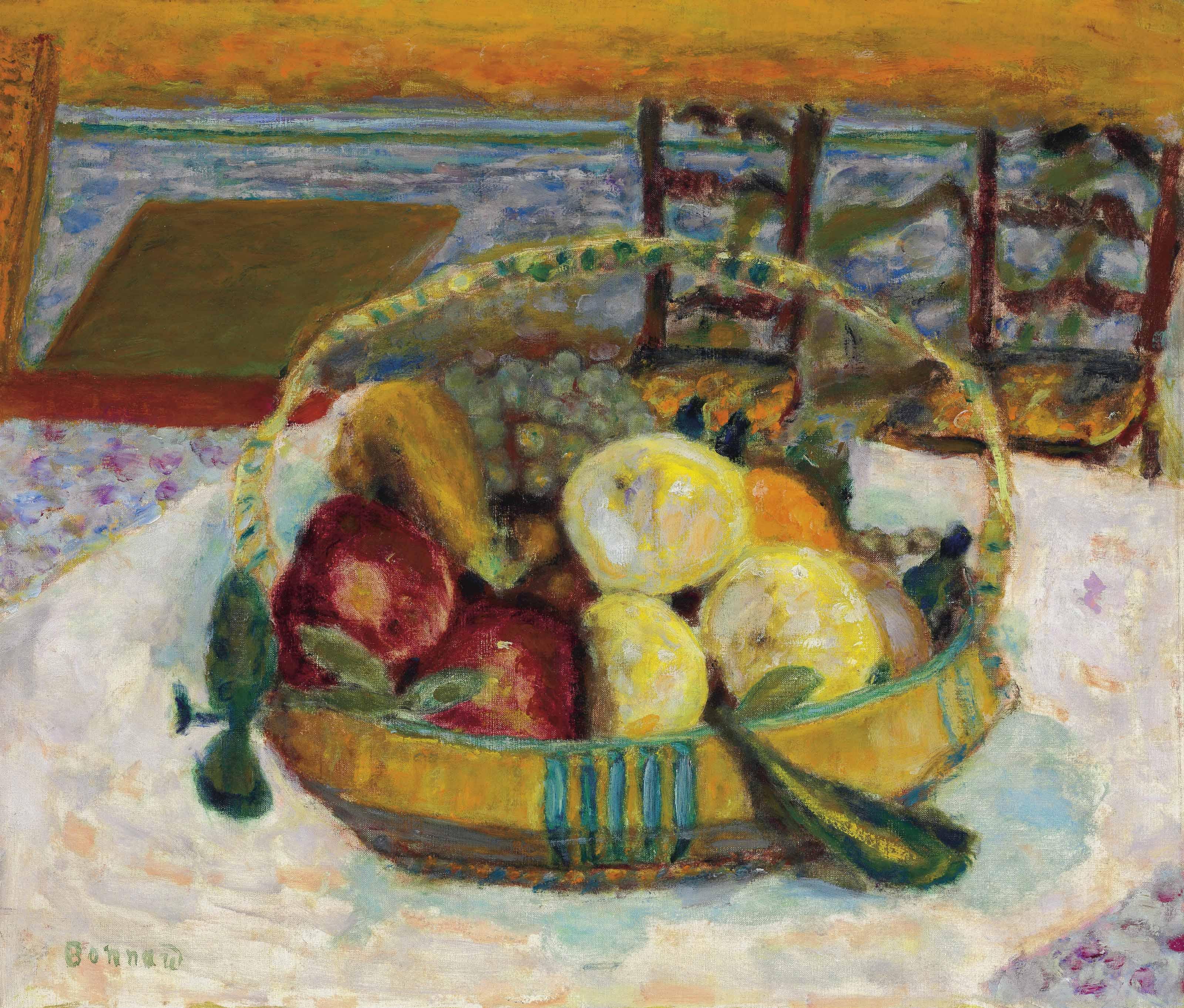 Pierre bonnard 1867 1947 corbeille de fruits dans la for Salle a manger a la campagne bonnard