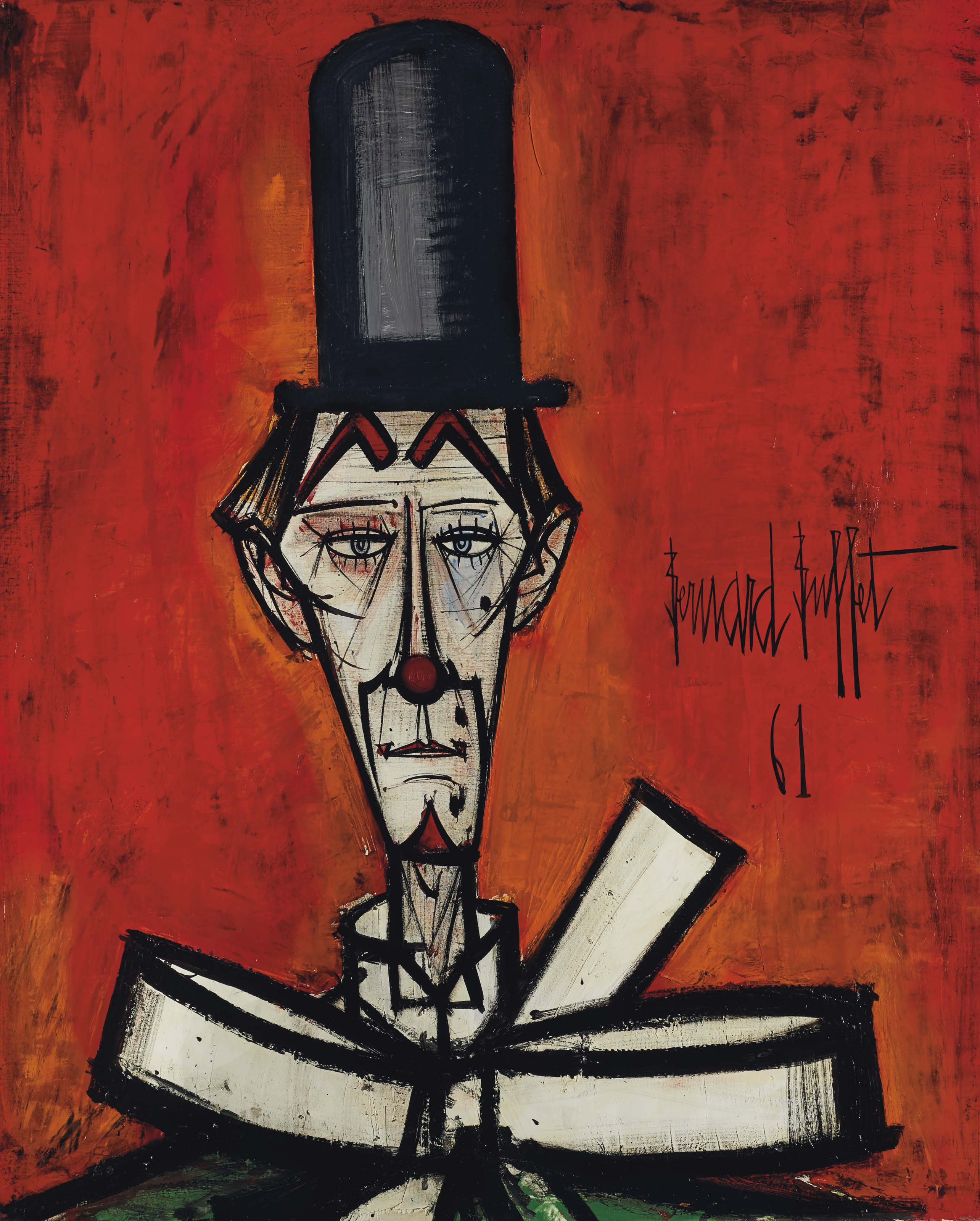 Bernard Buffet (1928-1999) , Clown au chapeau noir fond ...