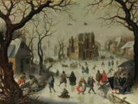 A winter landscape with a horse-drawn sledge and figures skating and sledding