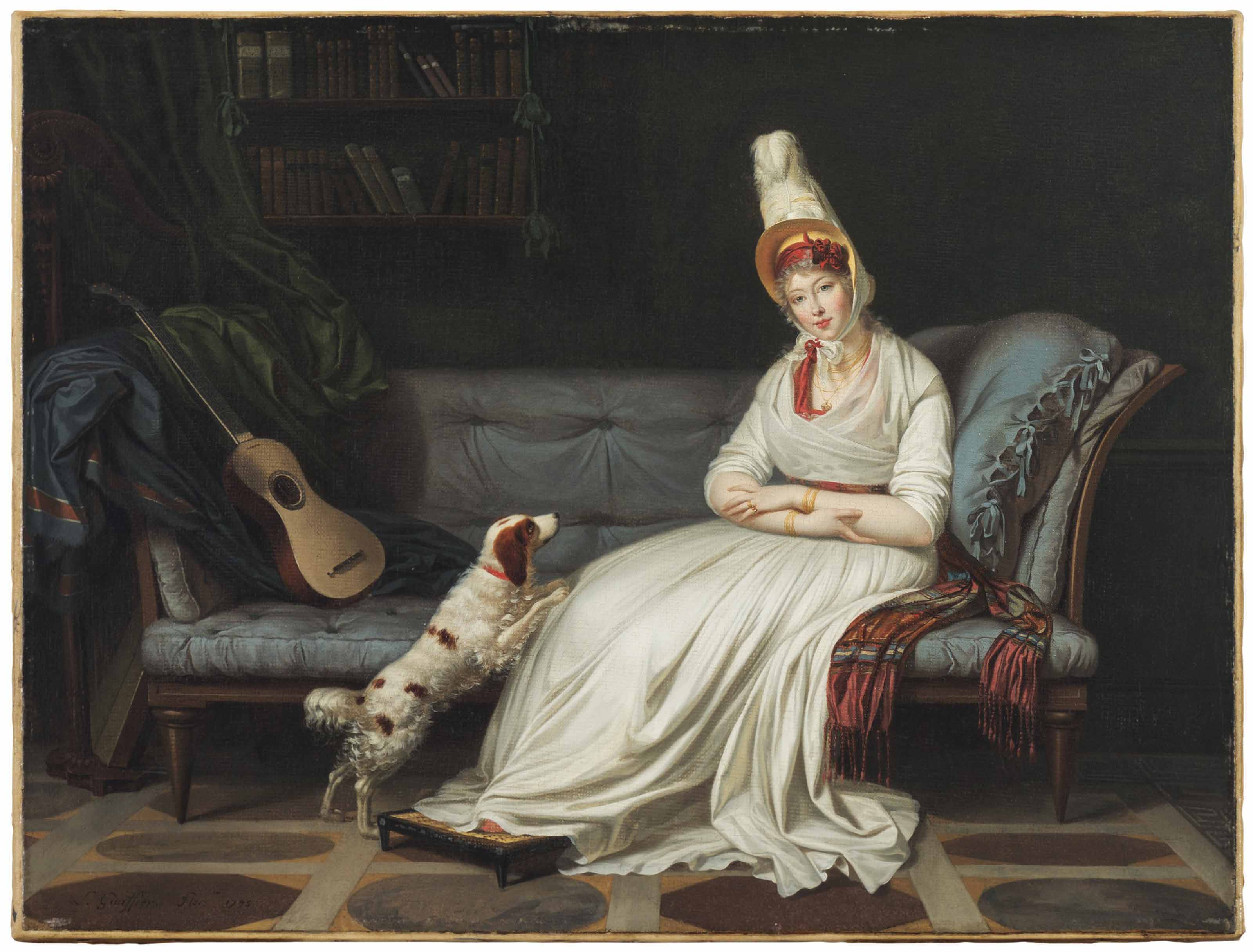 Portrait of Elizabeth, Lady Webster, later Lady Holland (1771-1845), full-length, in a white dress and feathered hat, with her spaniel, Pierrot, on a chaise-longue, with a guitar