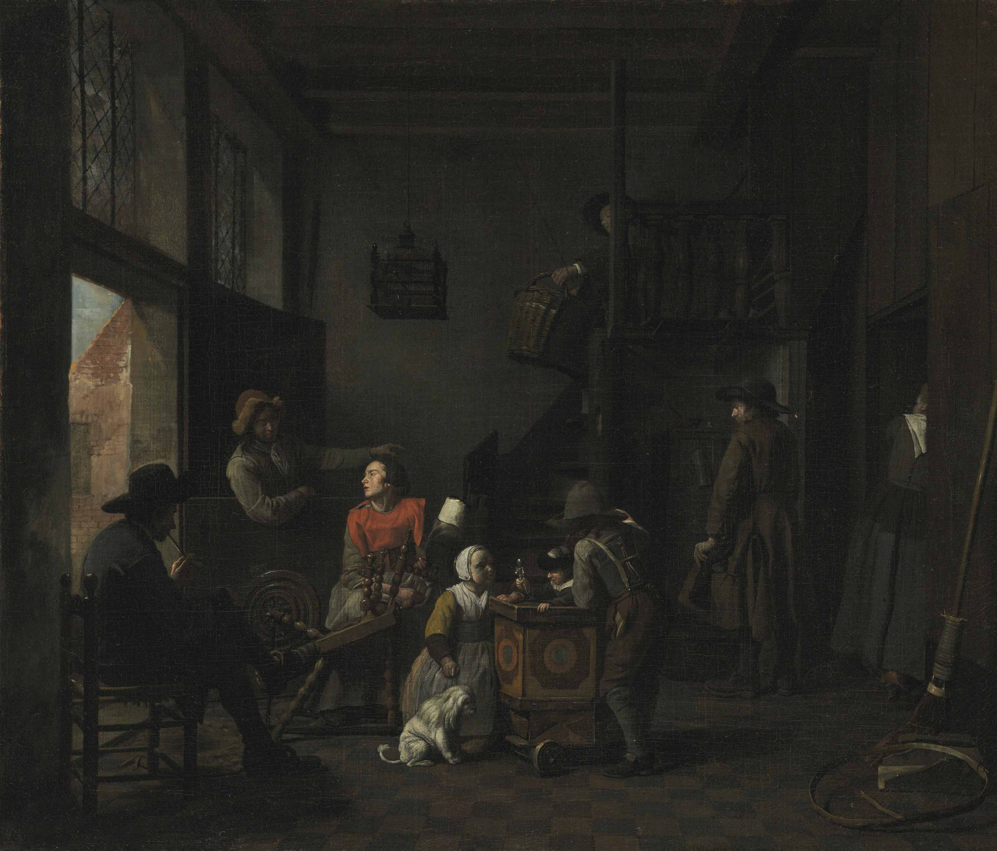 An interior with a woman at her spinning wheel, a child with a rattle, and other figures