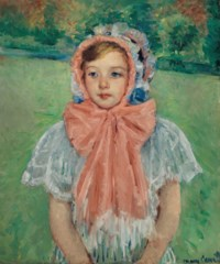 Girl in a Bonnet Tied with a Large Pink Bow