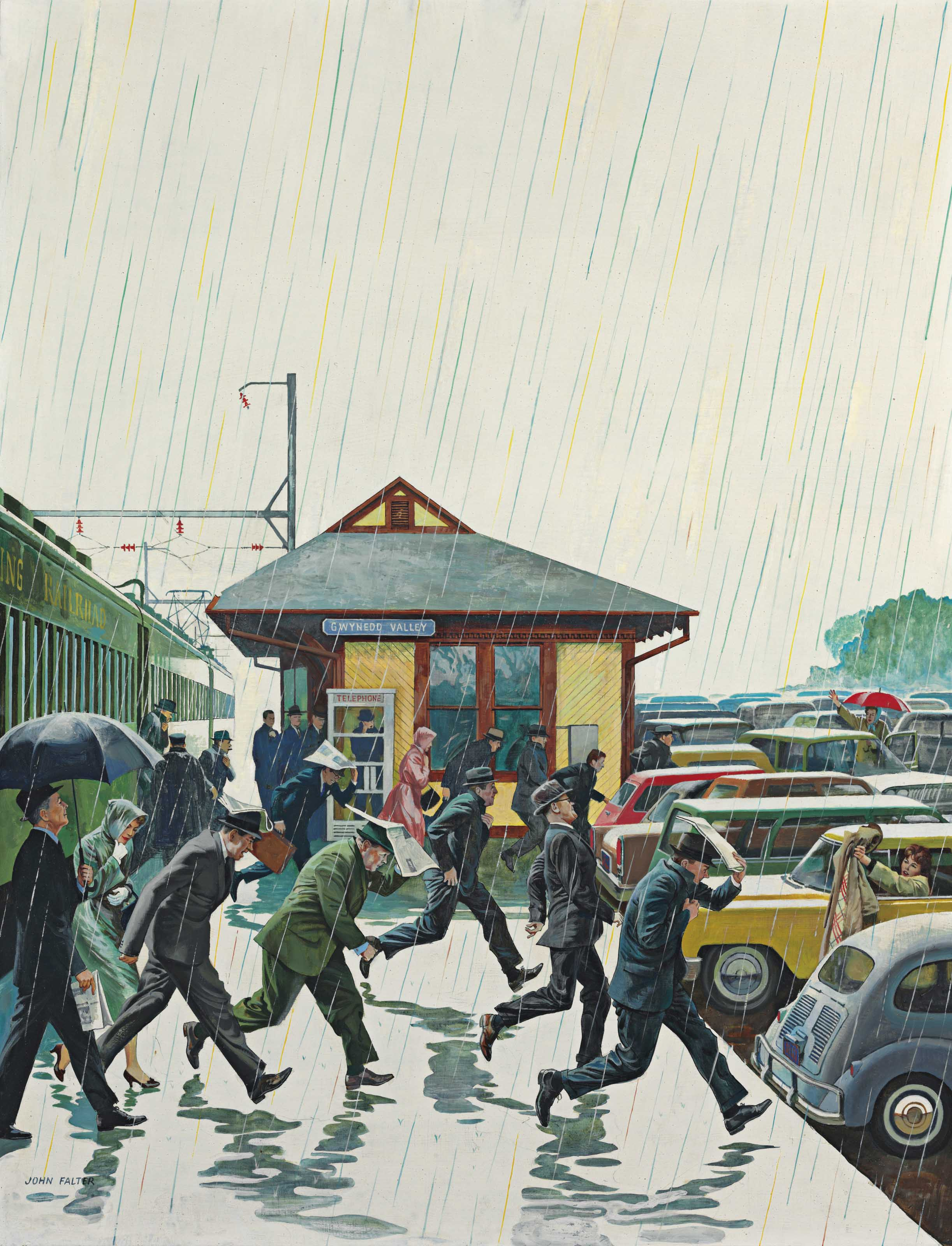 Commuters in the Rain
