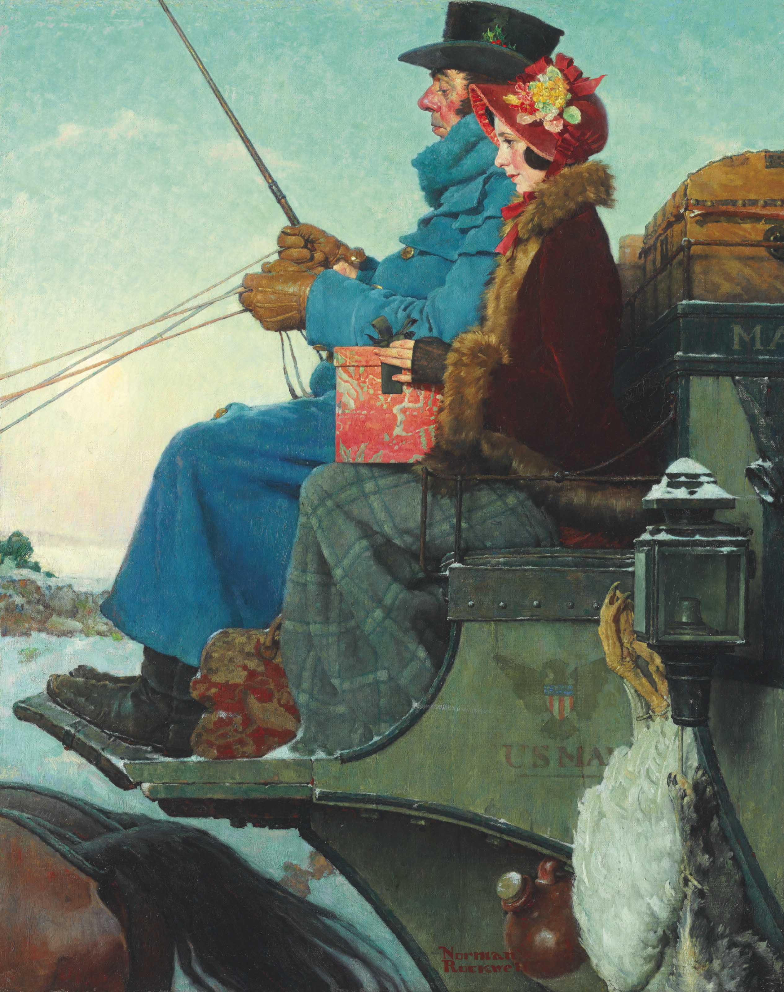 Norman Rockwell (1894-1978) | The Christmas Coach | 20th Century ...