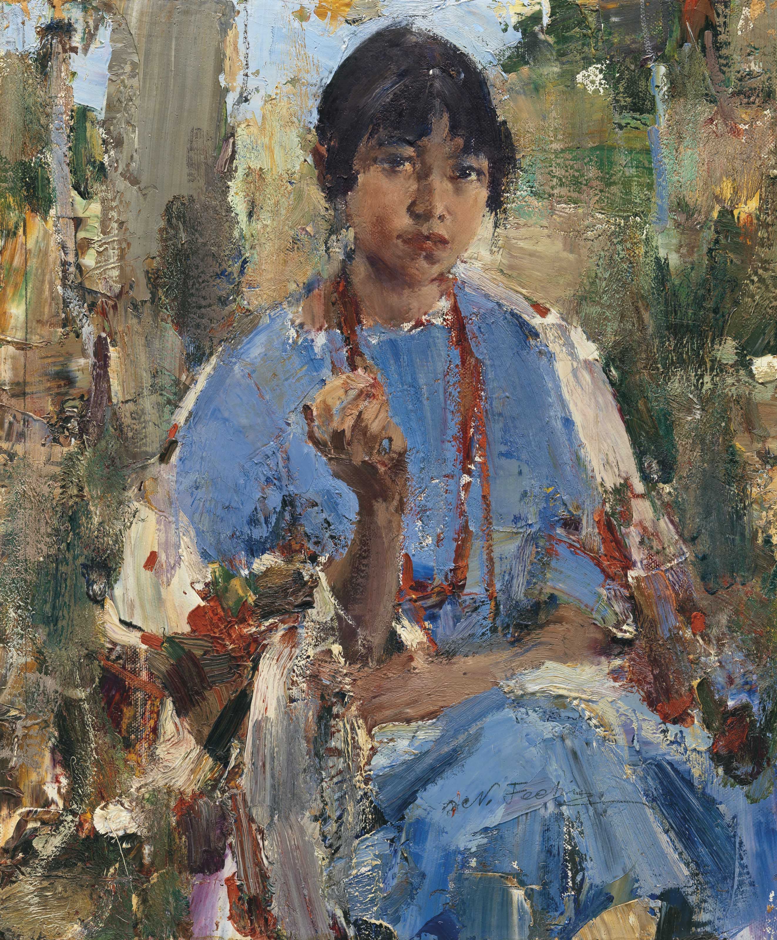 Nicolai fechin 1881 1955 indian girl in blue dress for Nicolai fechin paintings for sale