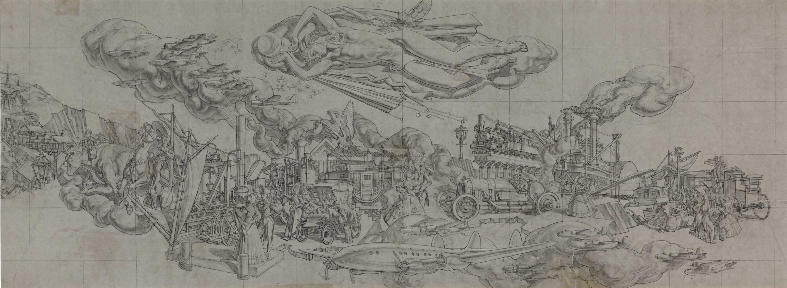 Study for 'The History of Transportation' Mural