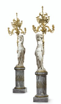 A PAIR OF LARGE FRENCH ORMOLU-MOUNTED BLEU TURQUIN AND CARRARA MARBLE TWELVE-LIGHT TORCHERES