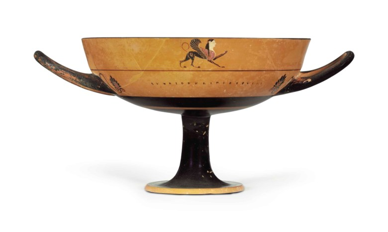 An Attic black-figured lip-cup, attributed to the Tleson Painter, circa 6th century BC. 8¼  in (21  cm) diameter, excluding handles. Sold for $56,250 on 25 April 2017 at Christie's in New York