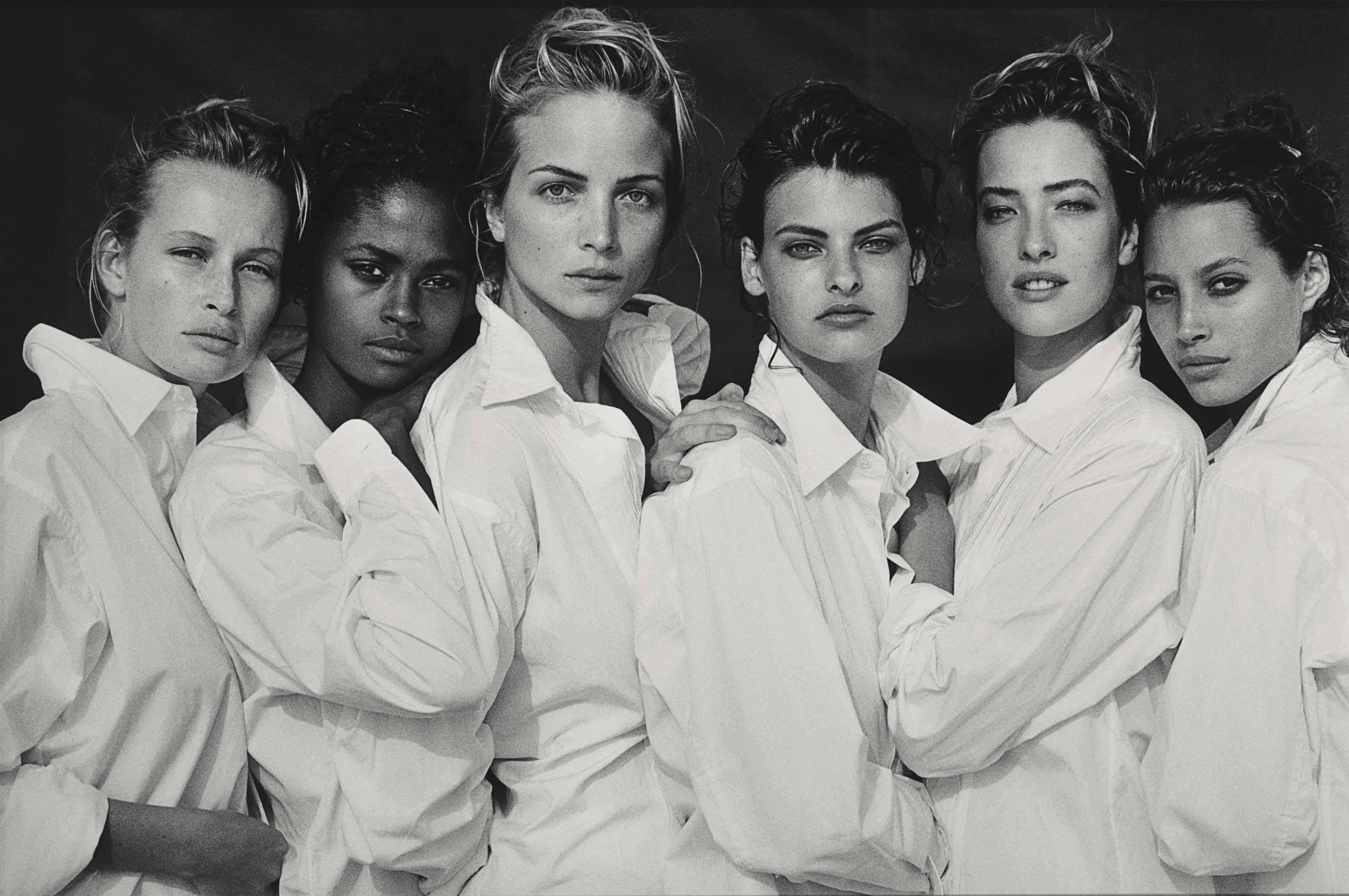 Estelle Lefébure, Karen Alexander, Rachel Williams, Linda Evangelista, Tatjana Patitz, Christy Turlington, Santa Monica, California, 1988