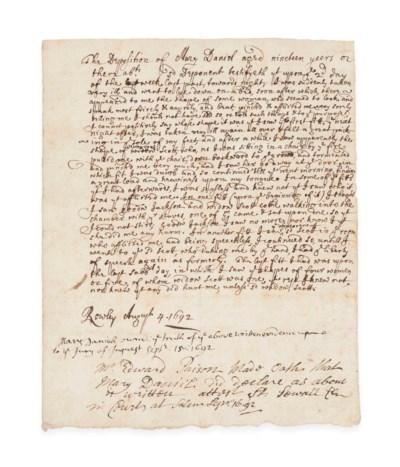 SALEM WITCH TRIALS – Manuscrip