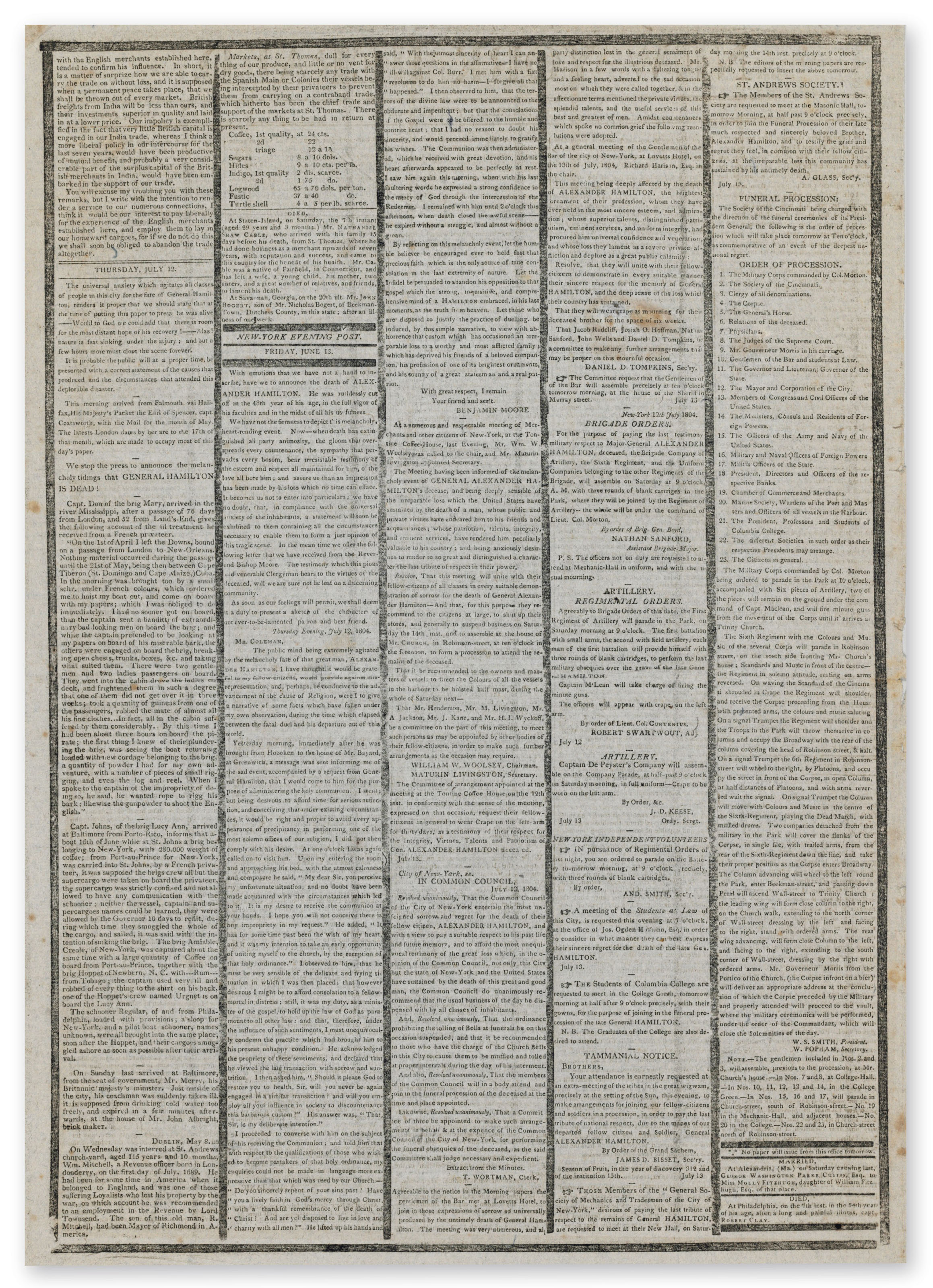 HAMILTON, Alexander – New-York Herald. New York: Michael Burnham, 14 July 1804. No. 265.