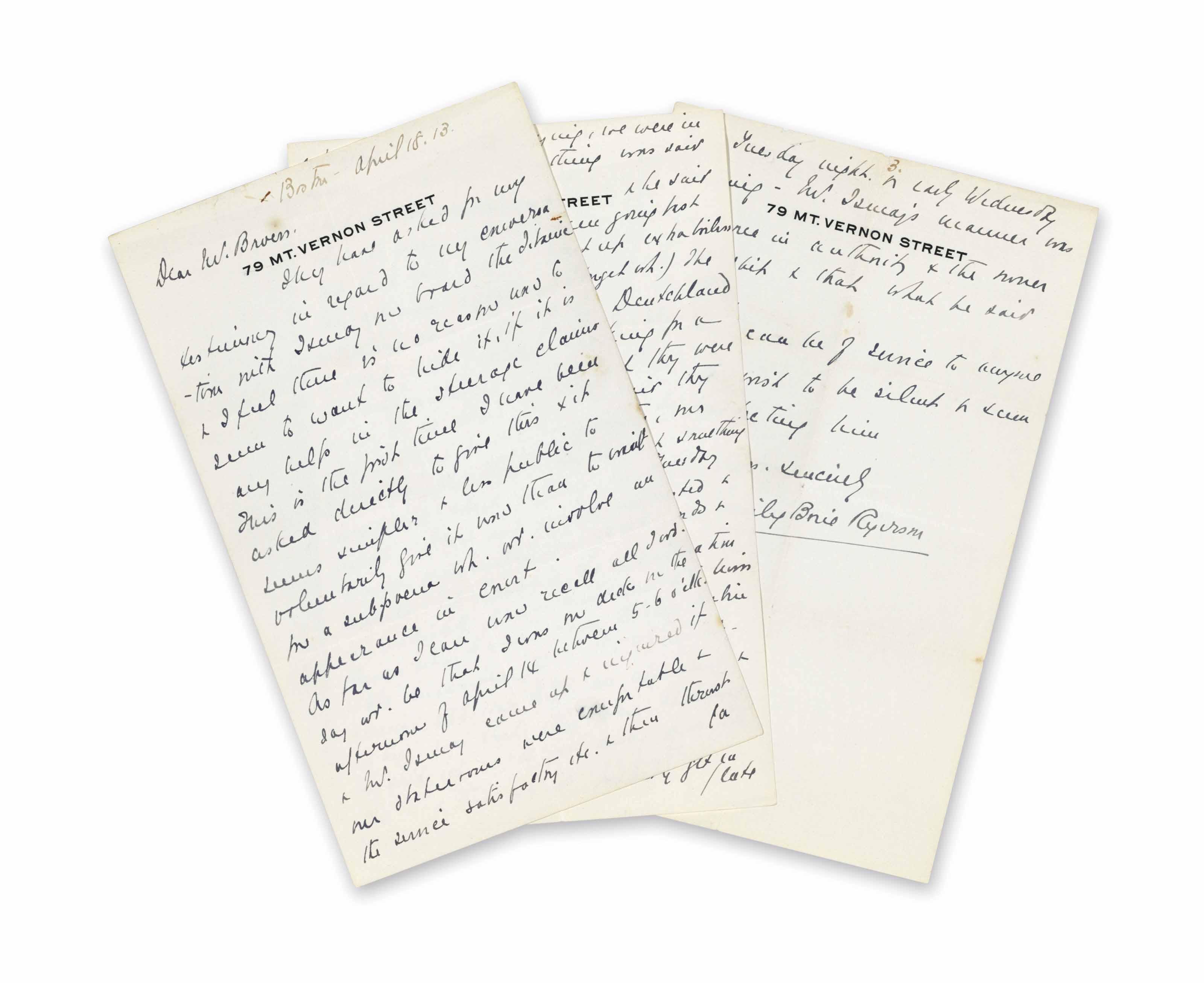 TITANIC – RYERSON, Emily Borie (1863-1939) Autograph Letter ...